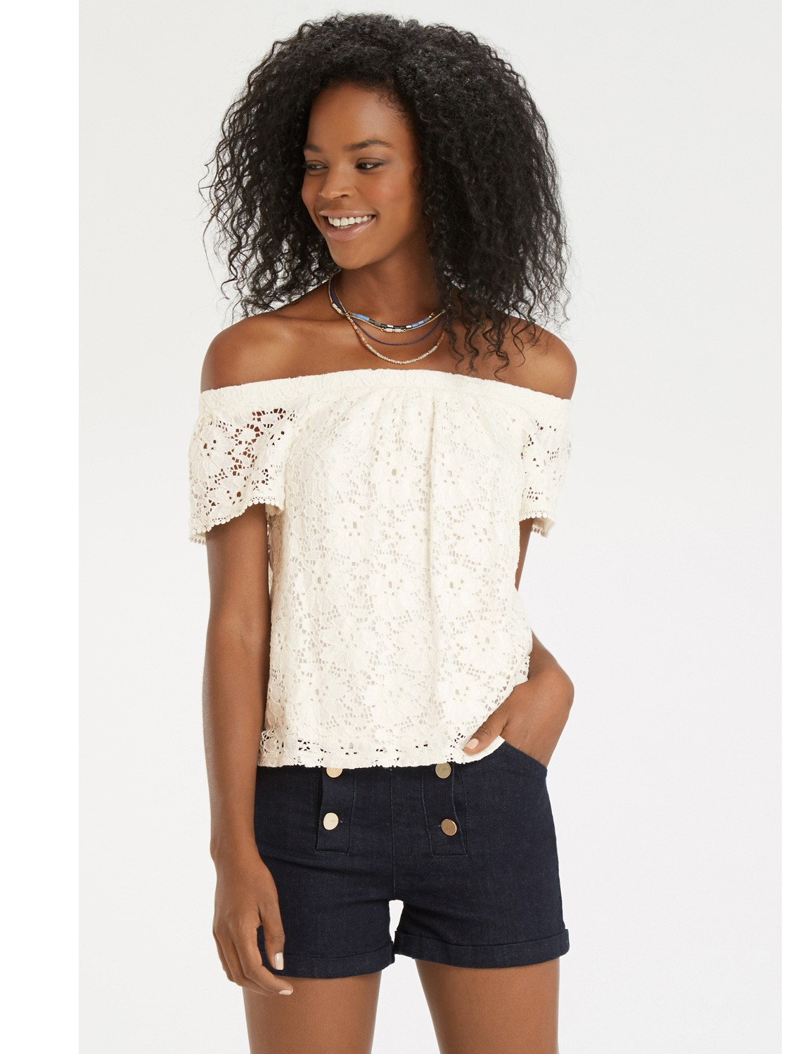 Oasis Lace Bardot Top in White | Lyst