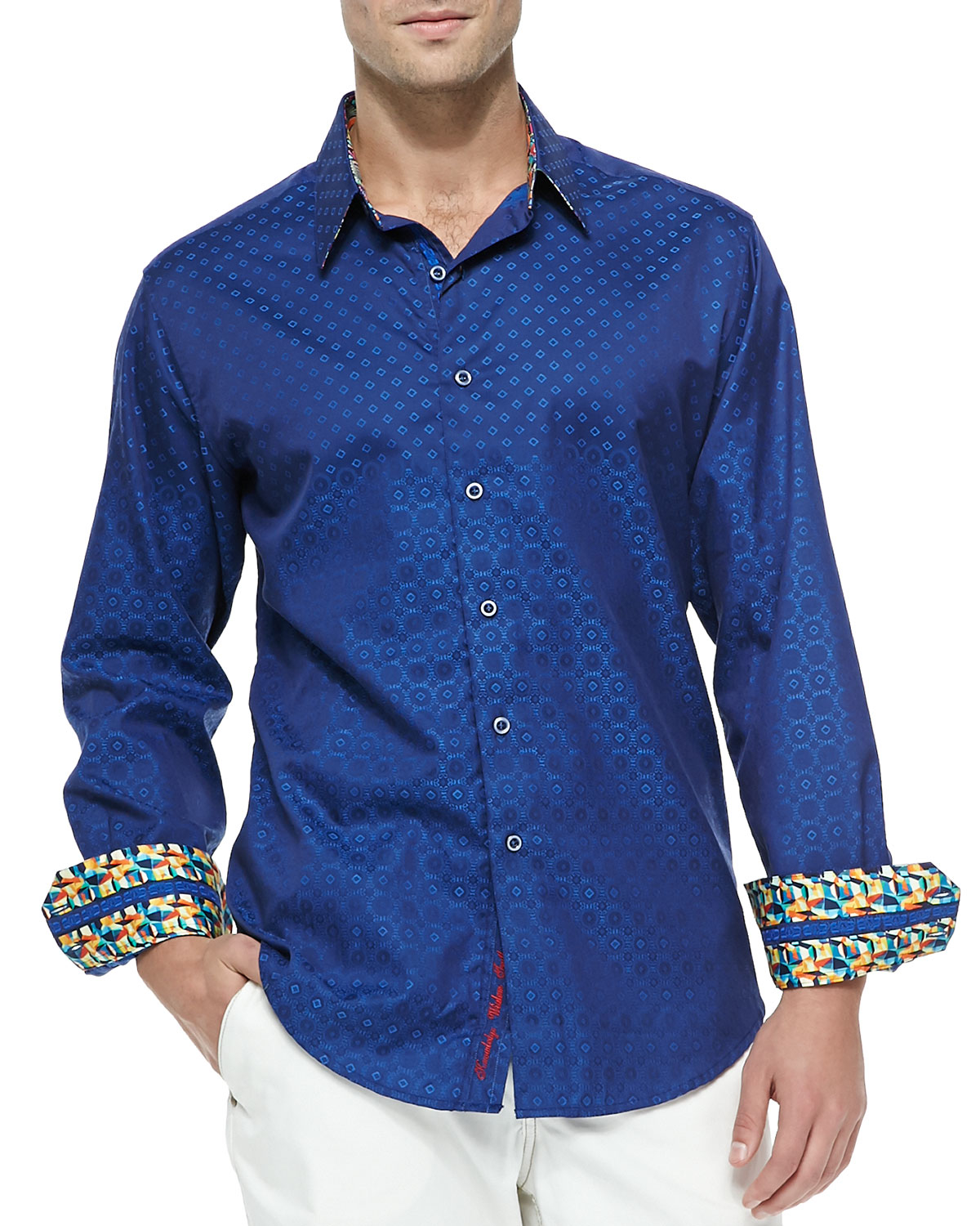 robert graham tidepool long sleeve sport shirt in blue for