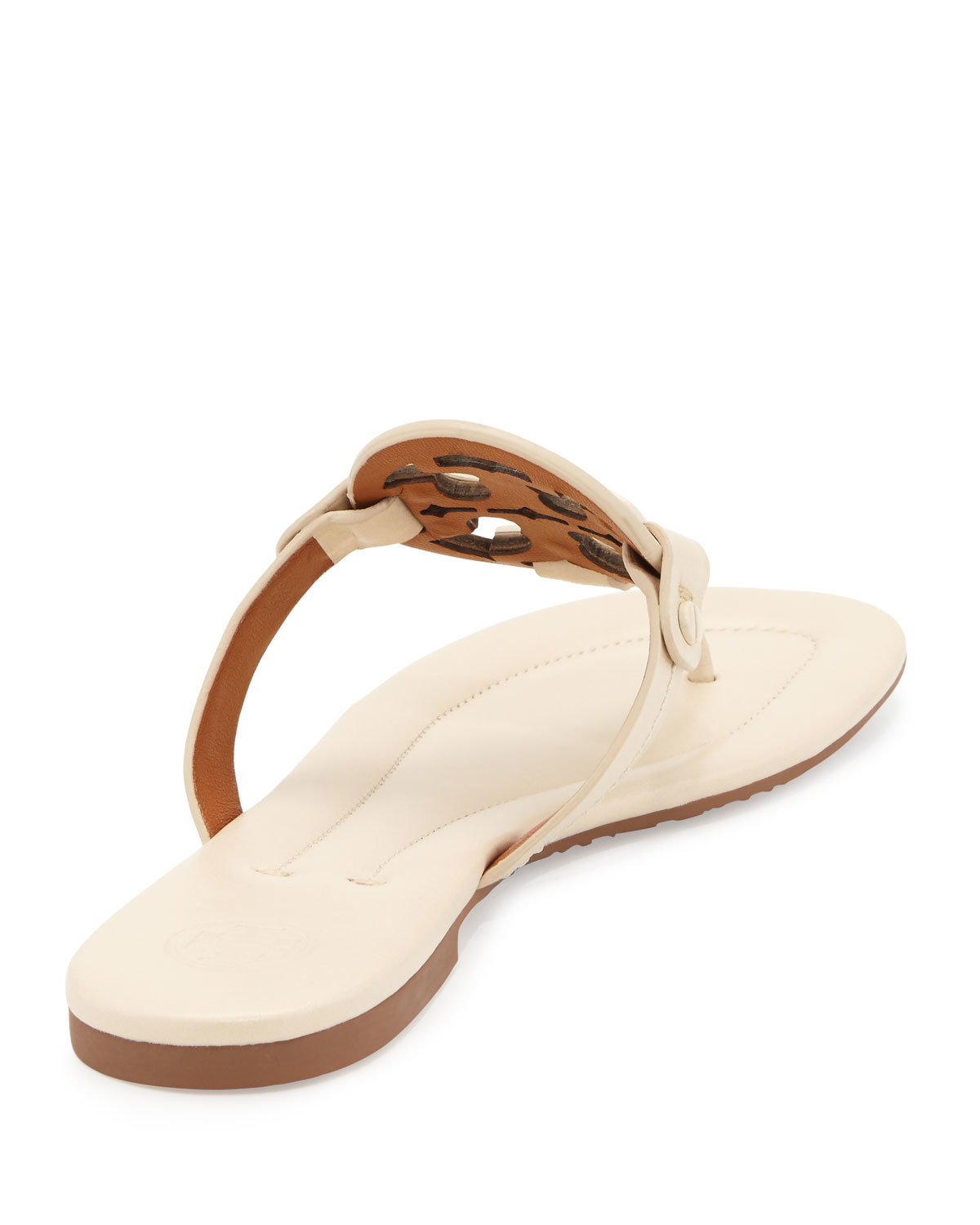 ae7283b936e524 Lyst - Tory Burch Miller 2 Logo Flat Leather Sandal in Natural