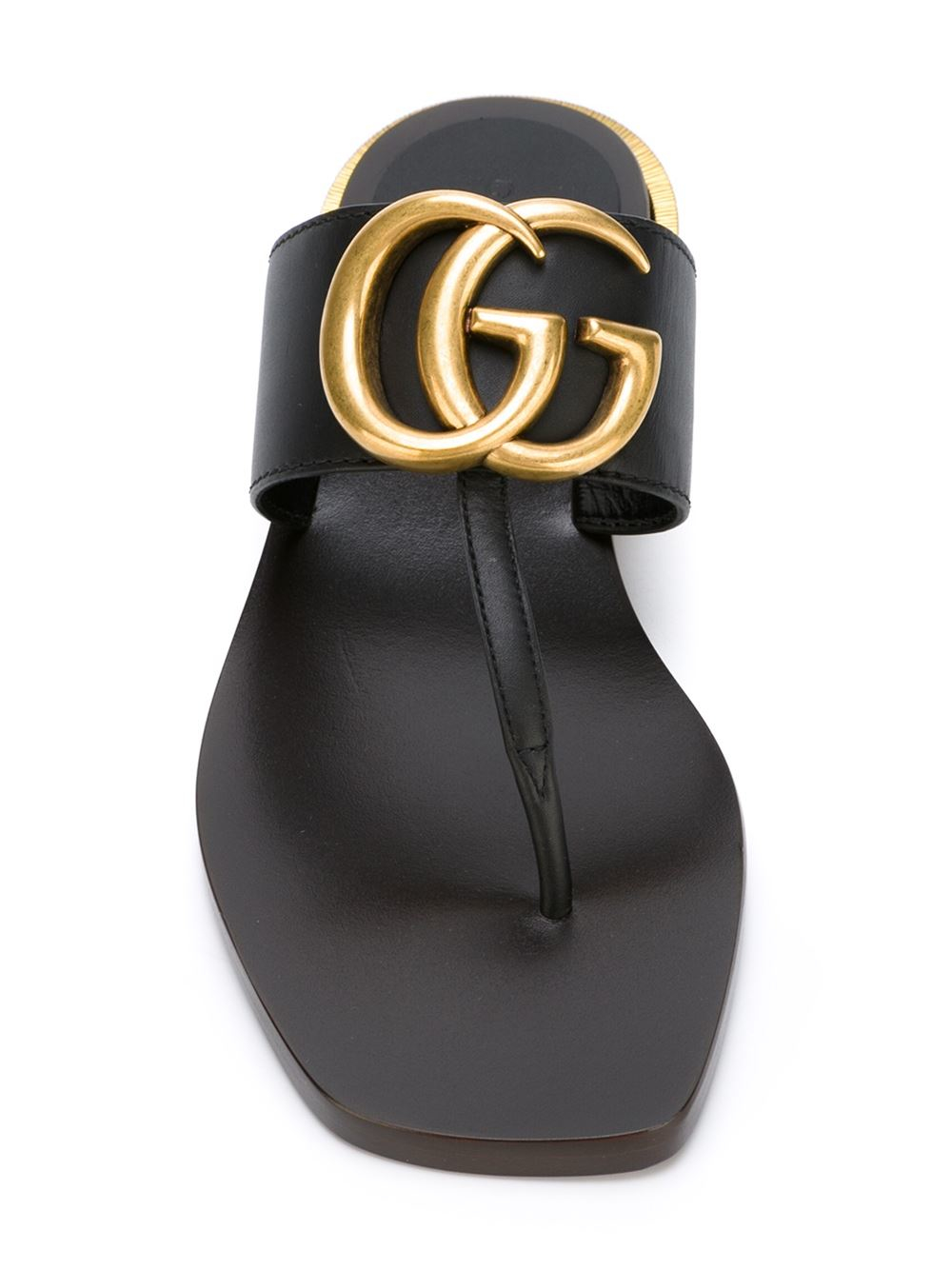 fe621c0df Gucci Double-G Leather Sandals in Black - Lyst
