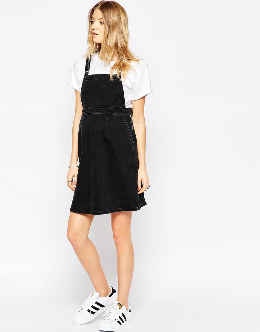 Asos maternity denim a line pinafore dress in washed black in gallery ombrellifo Choice Image