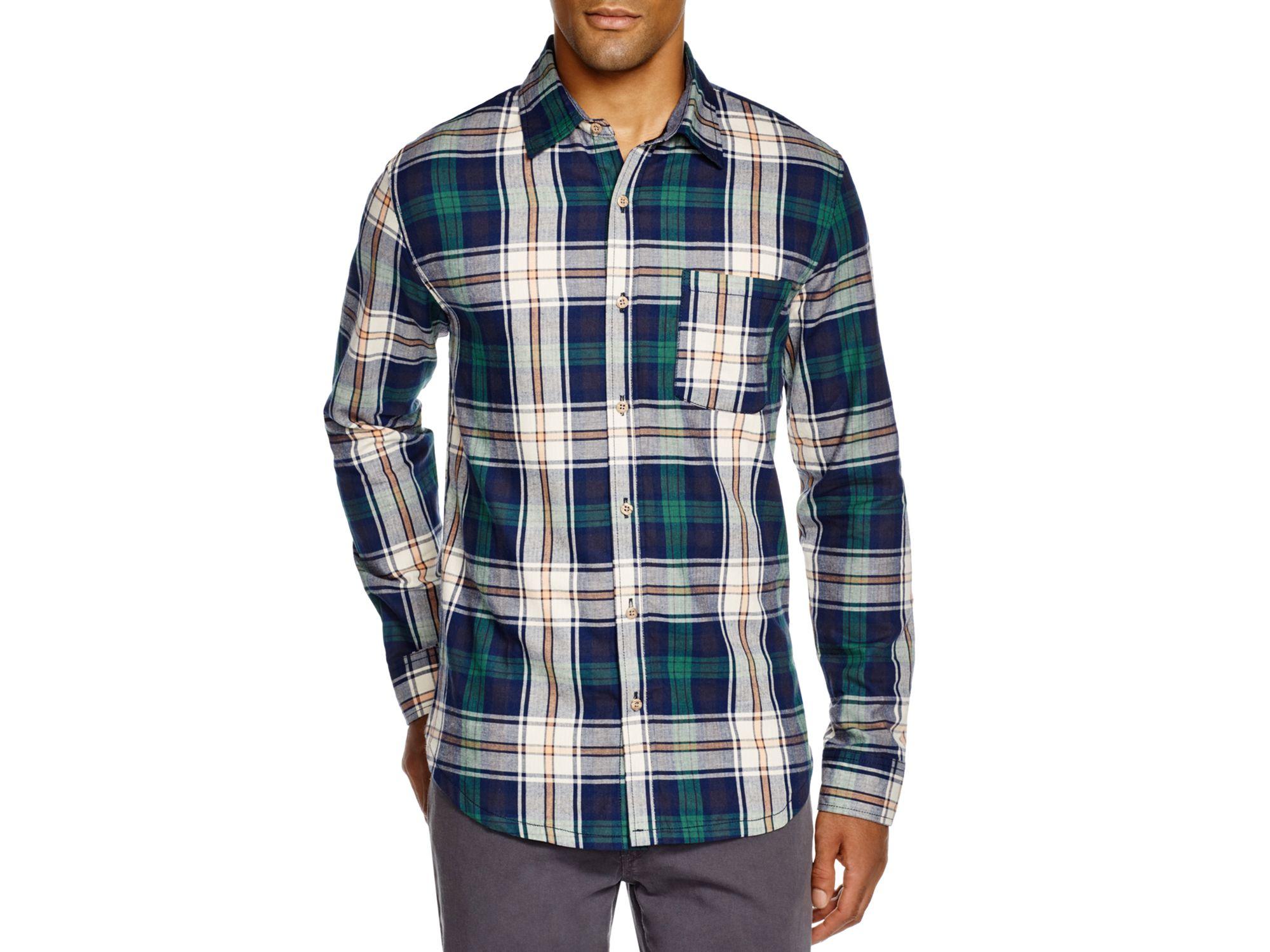 Lyst sovereign code prescott plaid regular fit button for Green plaid button down shirt