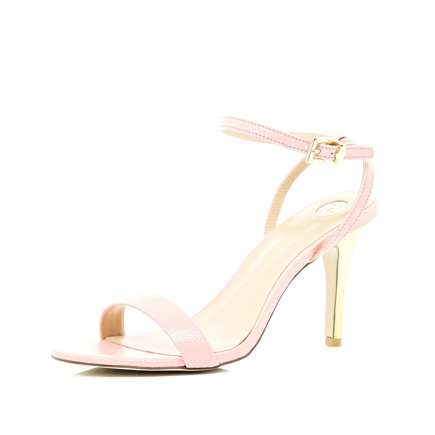 river island pale pink barely there mid heel sandals in