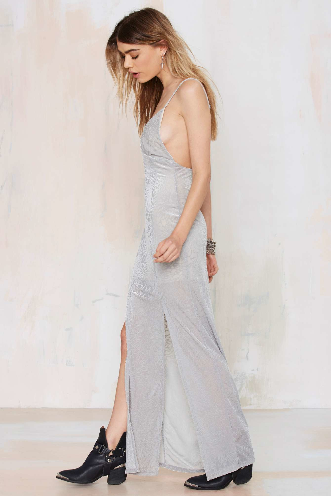Burnout velvet maxi dress