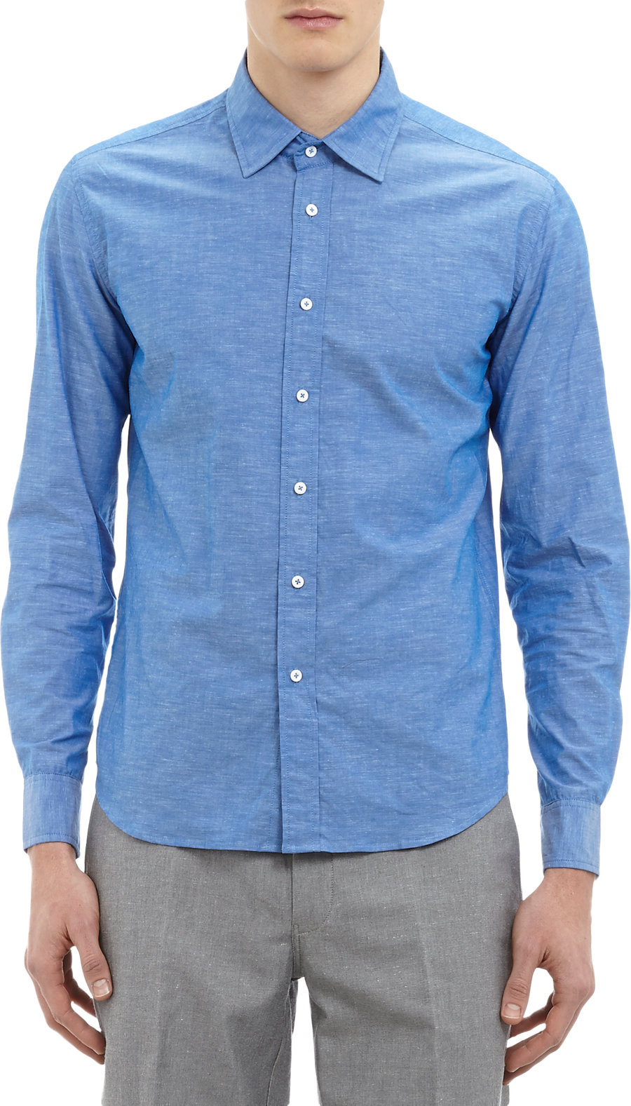 Lyst brooklyn tailors iridescent dress shirt in blue for men for Tailor made dress shirts