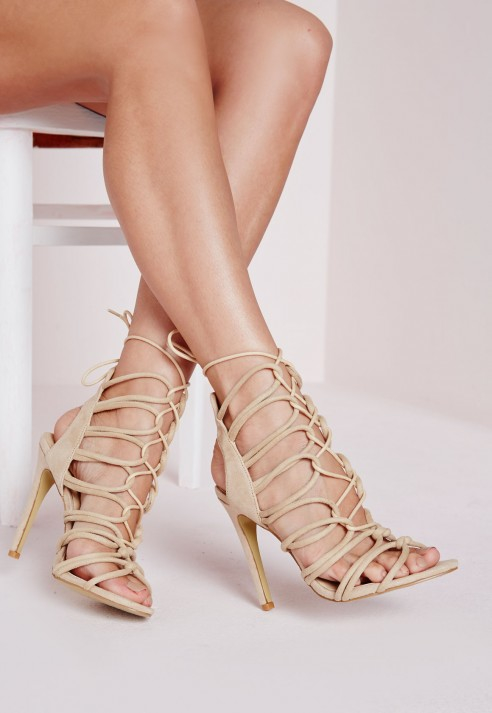 4532fb1b9b0 Lyst - Missguided Rope Lace Up Gladiator Heeled Sandals Nude in Natural