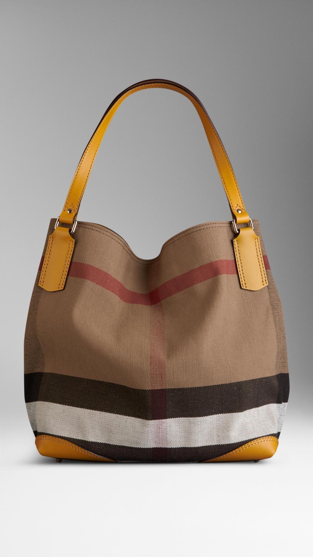de58d3262452 Lyst - Burberry Medium Canvas Check Tote Bag in Yellow