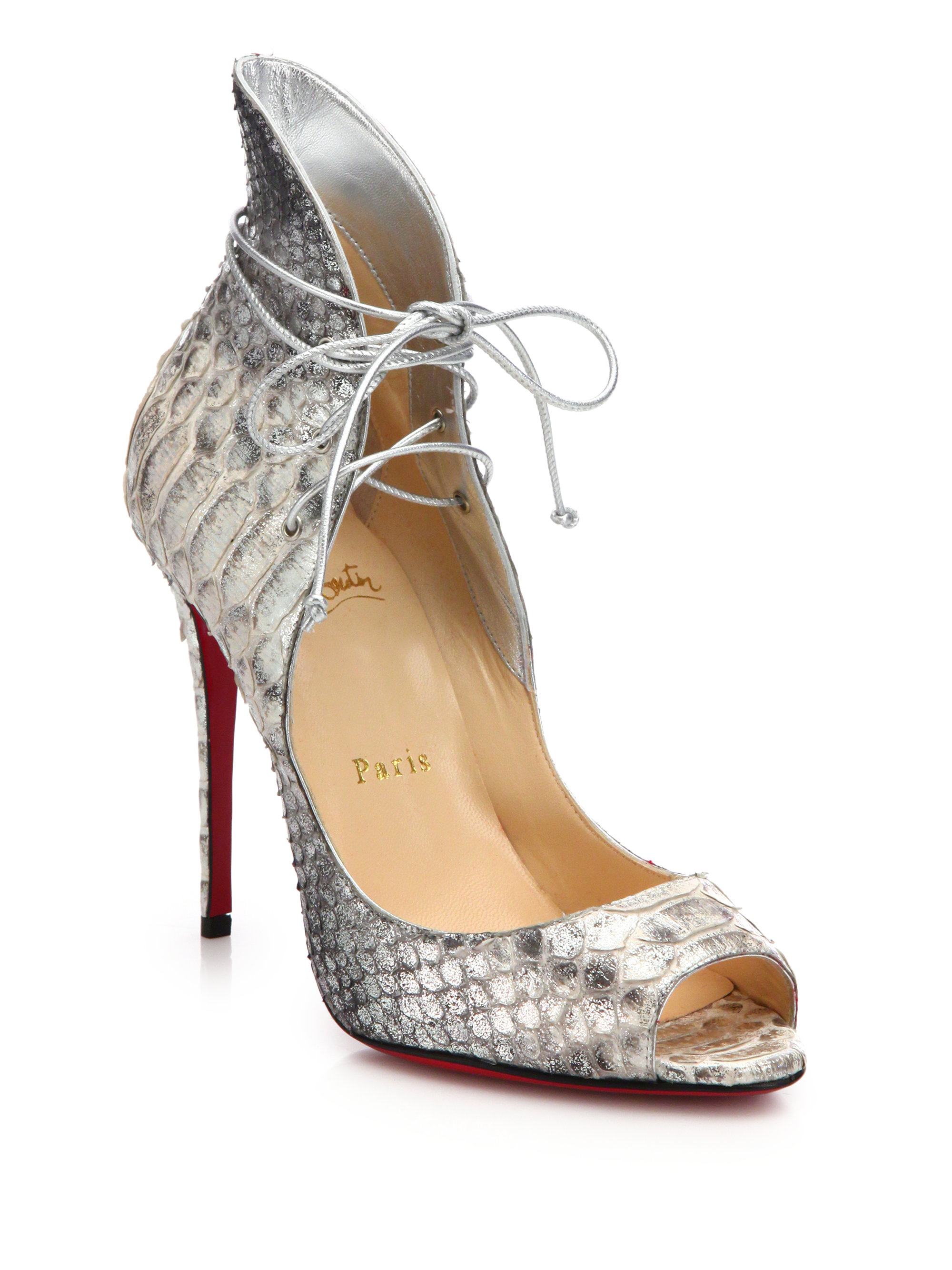 louboutin shoes replica - Christian louboutin Megavamp Python-Embossed Leather Pumps in Gray ...