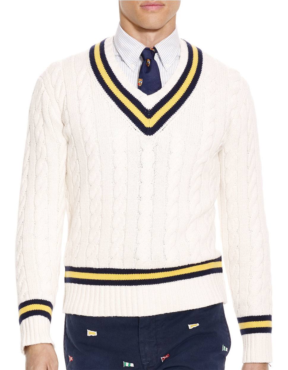 Lyst Polo Ralph Lauren Cable Knit Cricket Sweater In Blue For Men