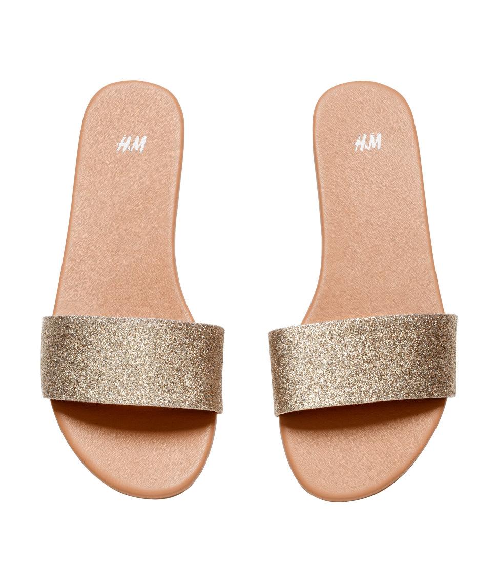 List - Hm Slip-On sandale v kovinskem-9549