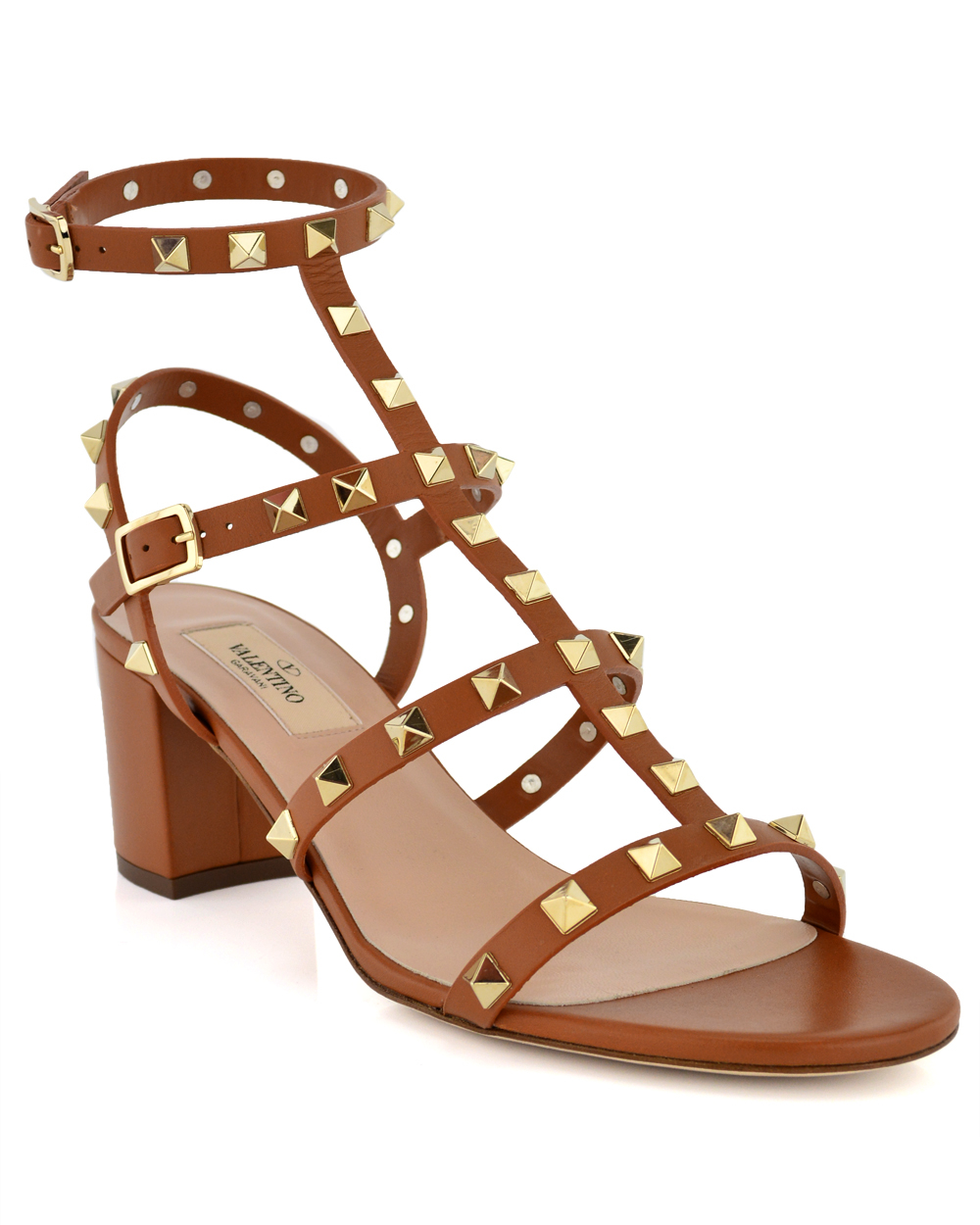 6419df84016 Valentino - Brown Cognac Rockstud Chunky Heel Sandal - Lyst