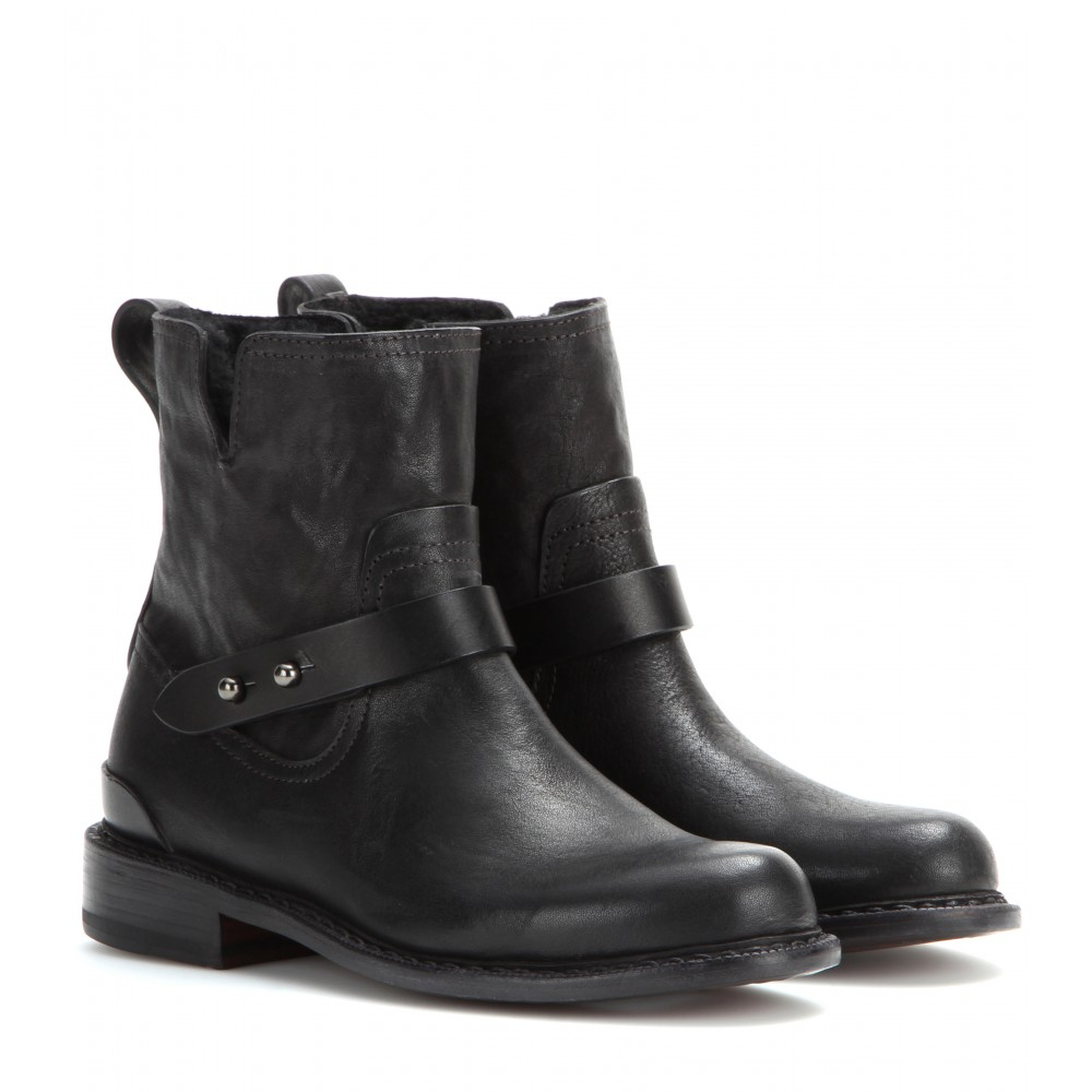 Lyst Rag Amp Bone Ashford New Moto Leather Ankle Boots In