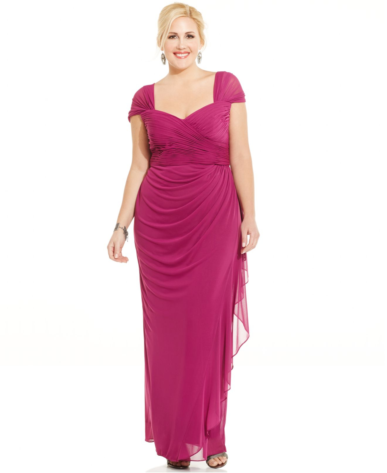 Lyst - Alex evenings Plus Size Ruched Cascade Ruffle Gown in Purple