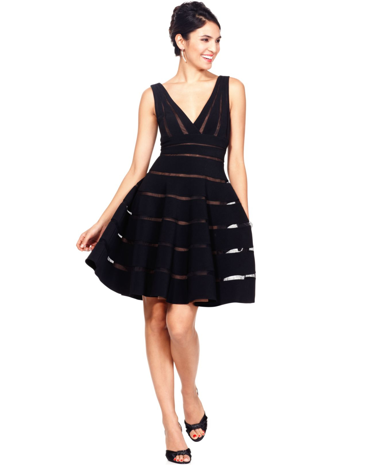 Js collections Sleeveless Striped A-line Dress in Black | Lyst