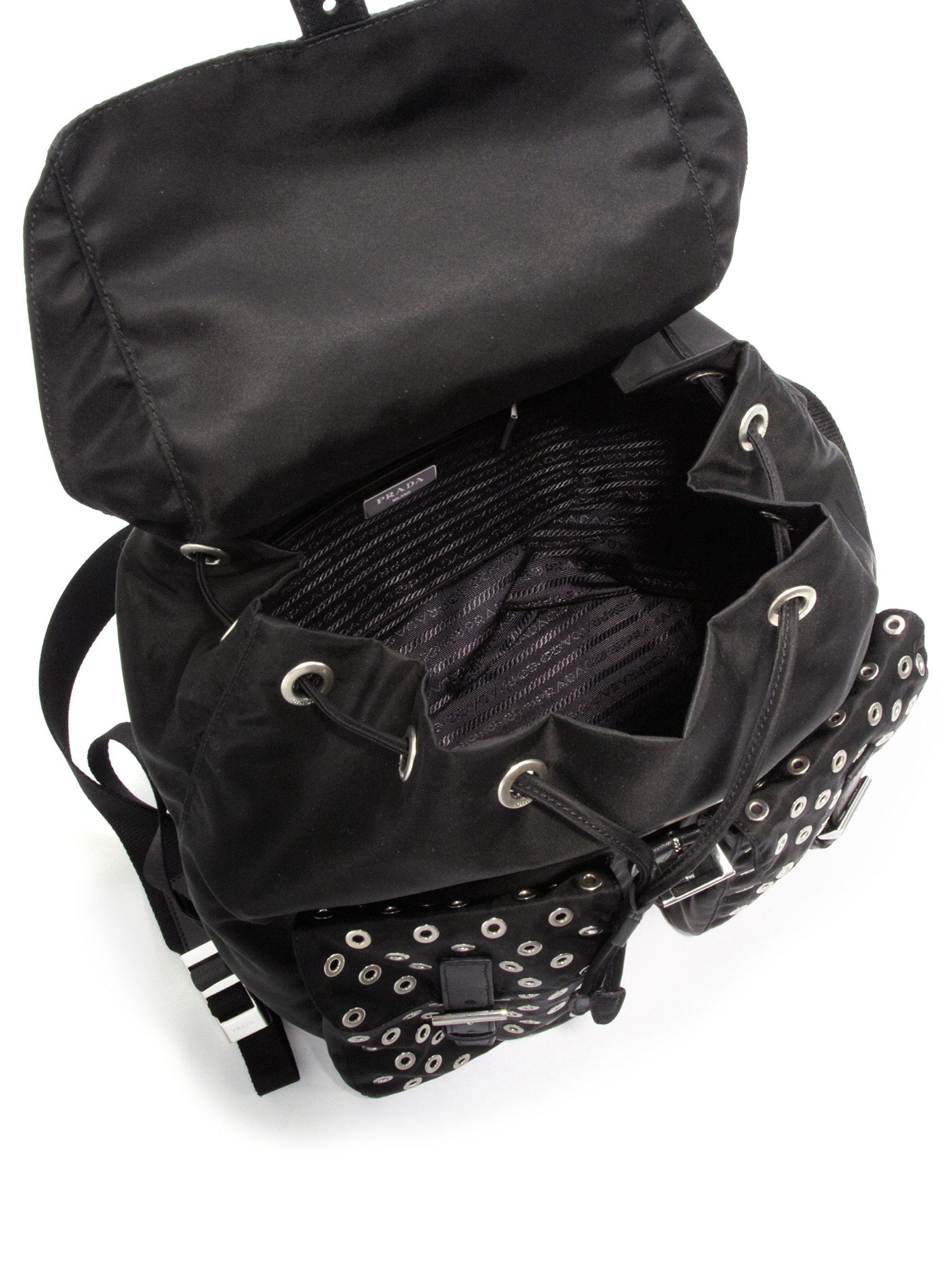 prada grey cloth backpack