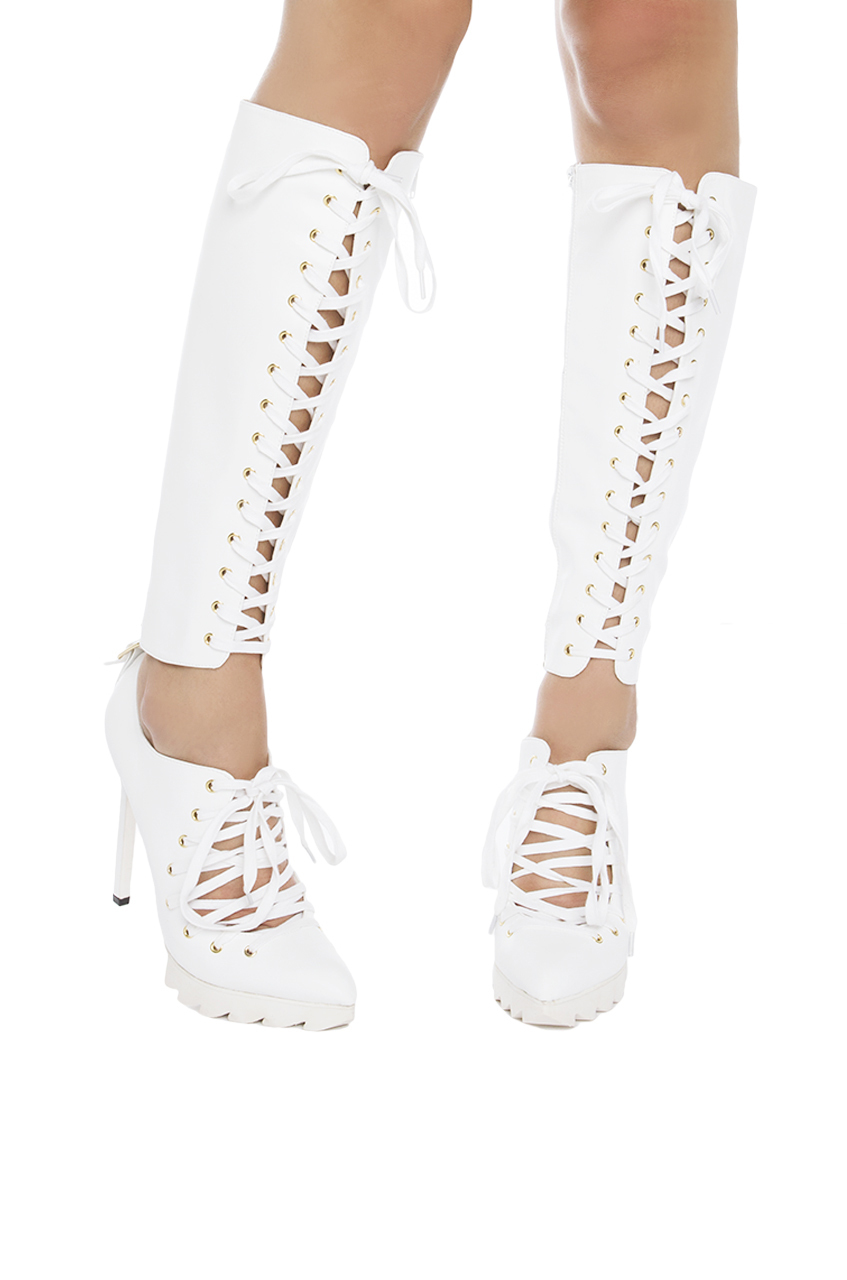 privileged knee high lace up heeled boots white in white