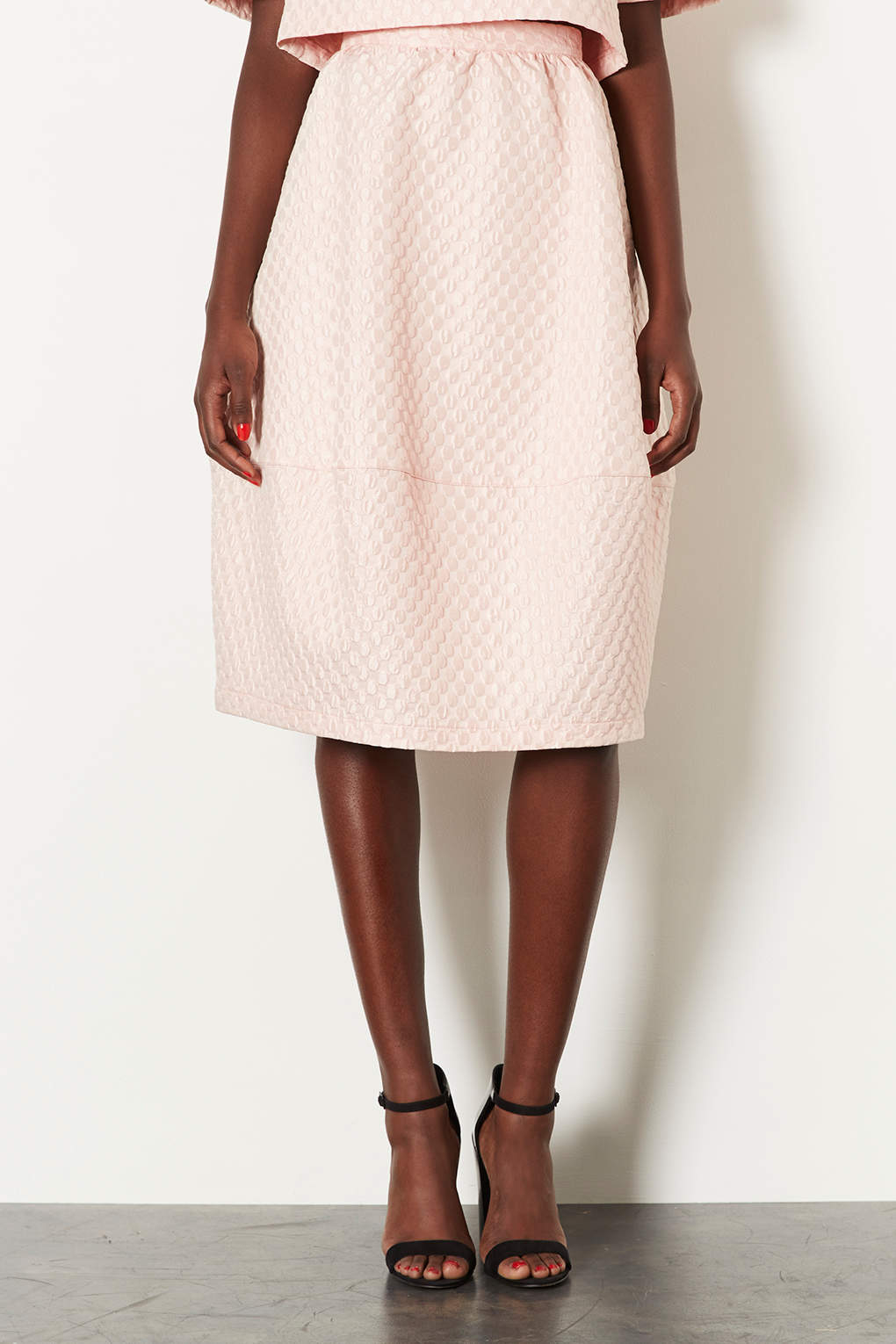 Topshop Bubble Jacquard Midi Skirt in Pink | Lyst