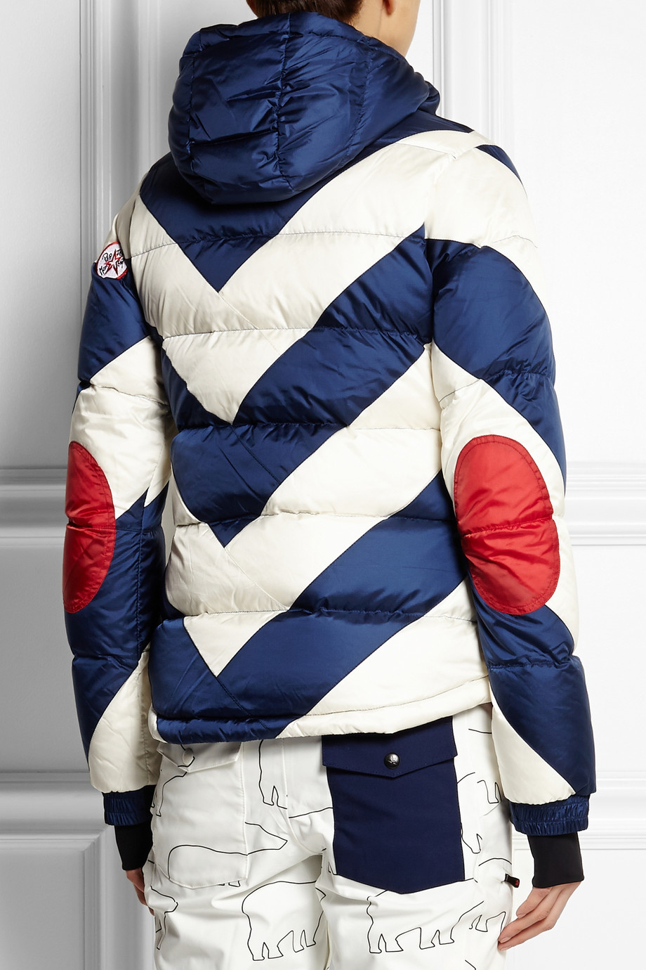 f2e3f828594 Perfect Moment Super Day Striped Quilted Shell Down Jacket in White - Lyst