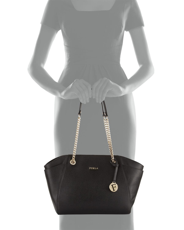 3236f9444 Furla Julia Medium Leather Tote Bag in Black - Lyst