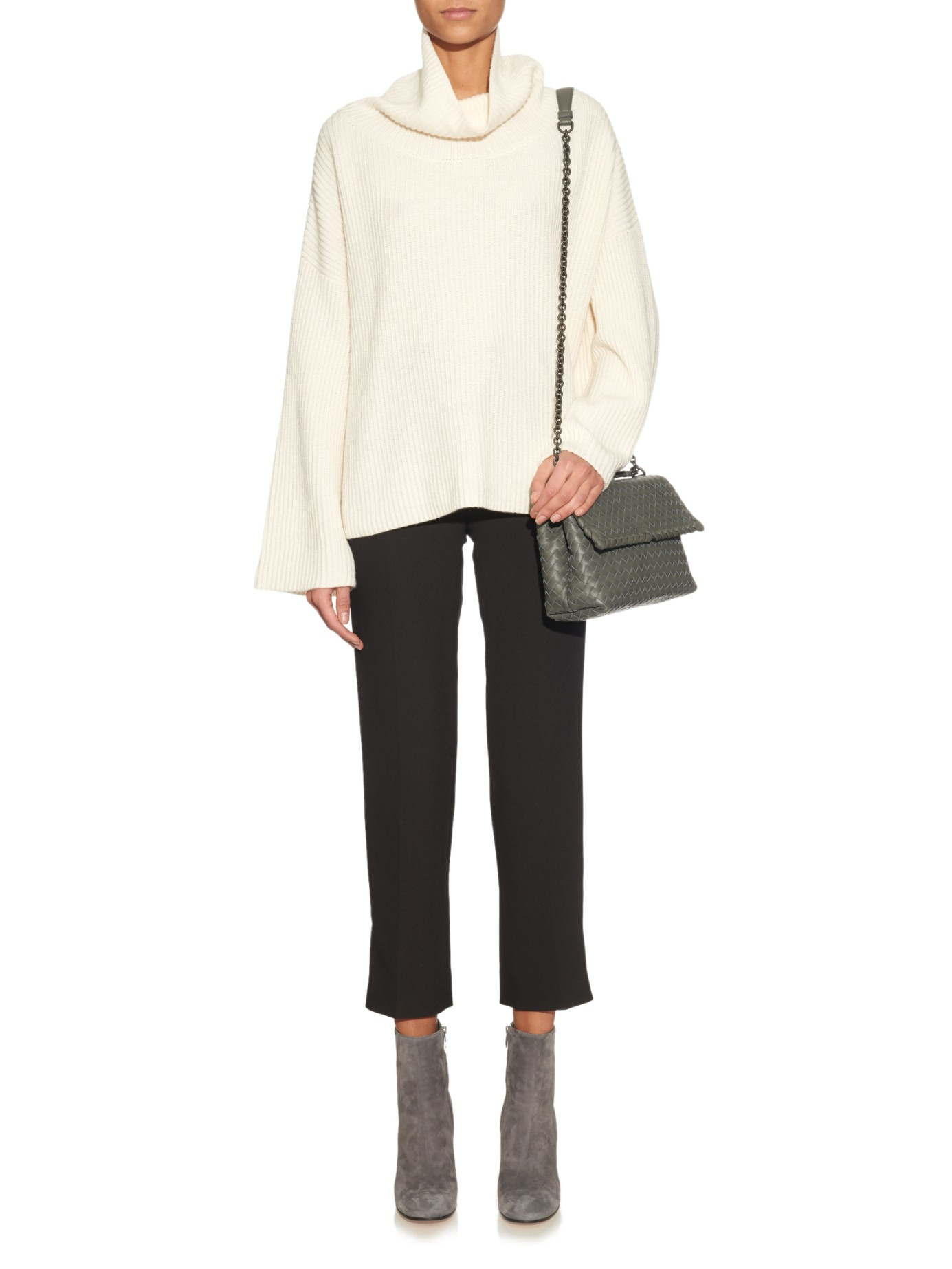 64849d357a Bottega Veneta - Gray Olimpia Small Intrecciato Leather Shoulder Bag - Lyst