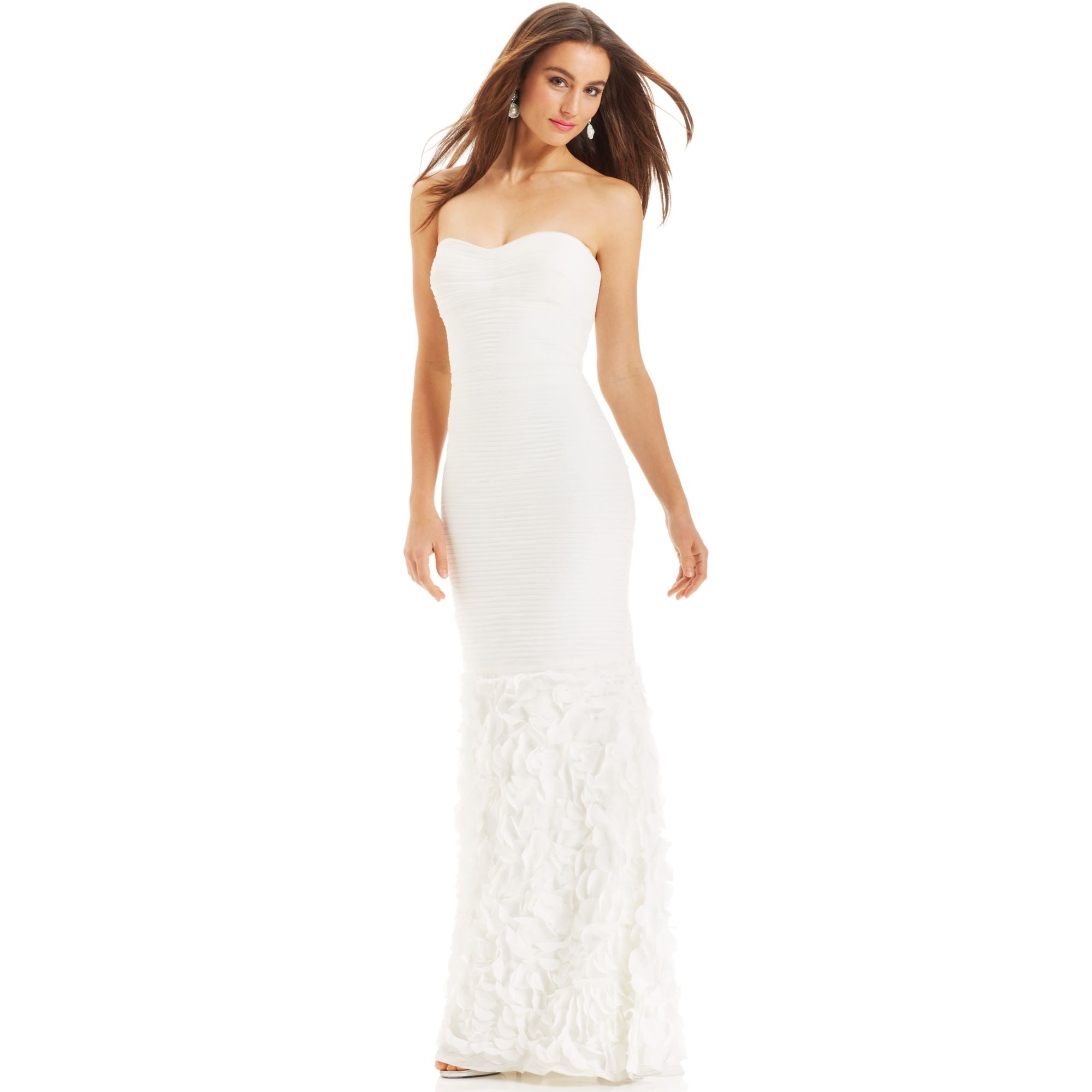 Js collections Strapless Ruched Mermaidhem Gown in White | Lyst