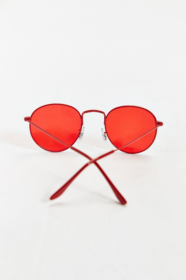 Red Tinted Sunglasses  urban outers tinted round sunglasses in red for men lyst