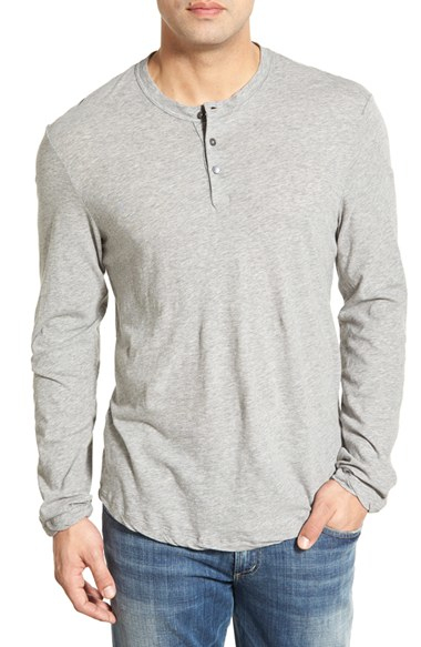 Lyst james perse 39 clear jersey 39 long sleeve henley in for James perse henley shirt