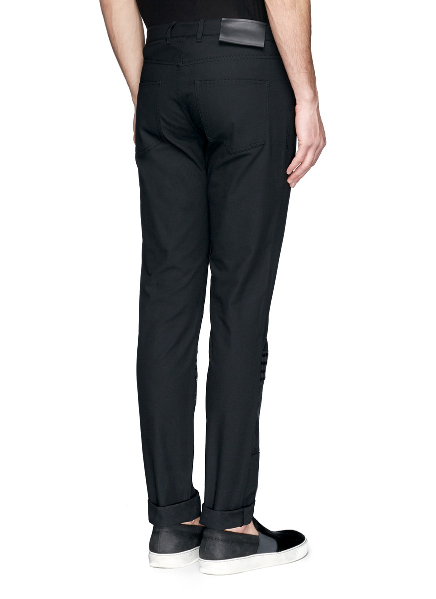 Lanvin Texture Check And Glossy Patch Twill Pants in Black ...