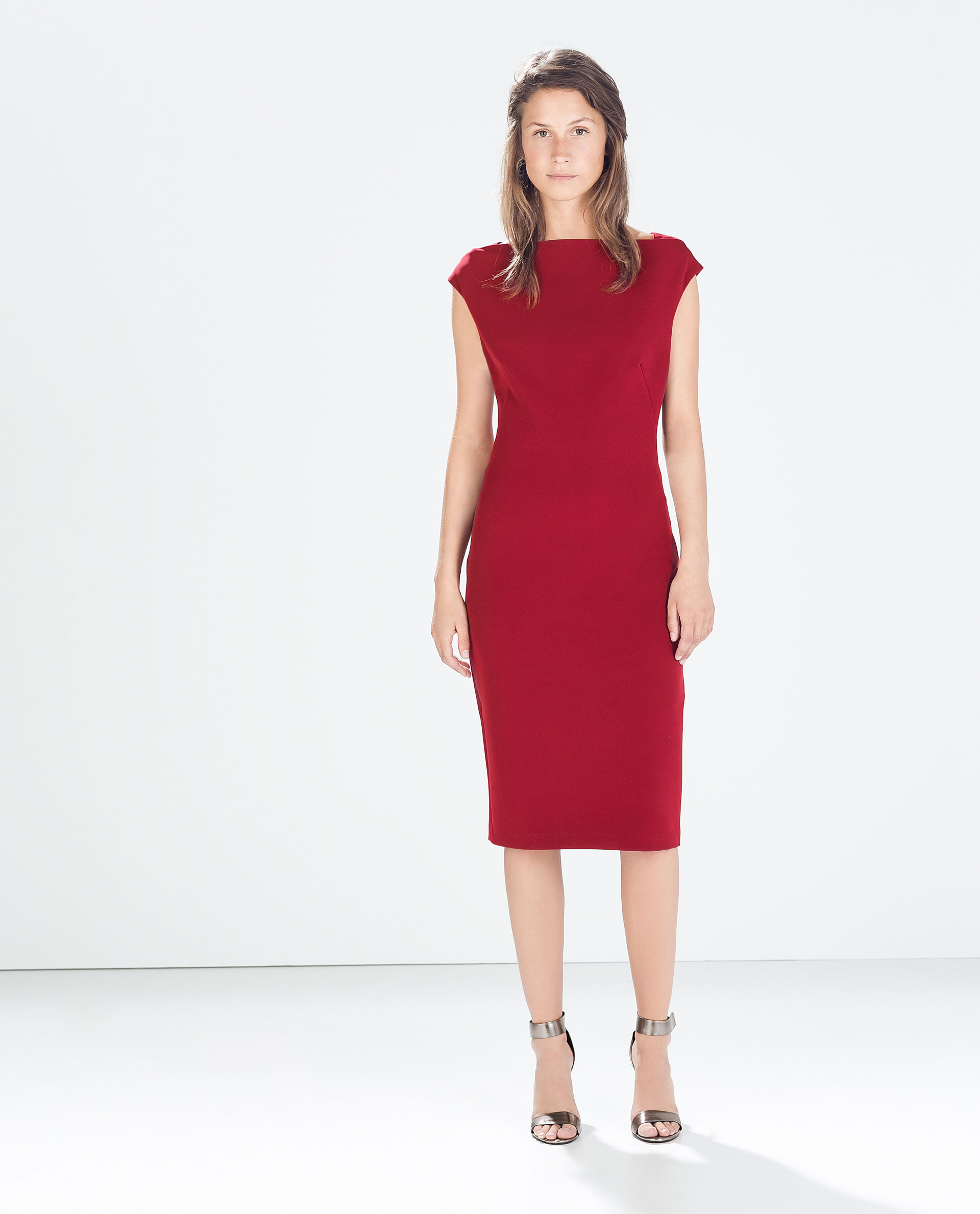 Zara Boatneck Tube Dress in Red - Lyst