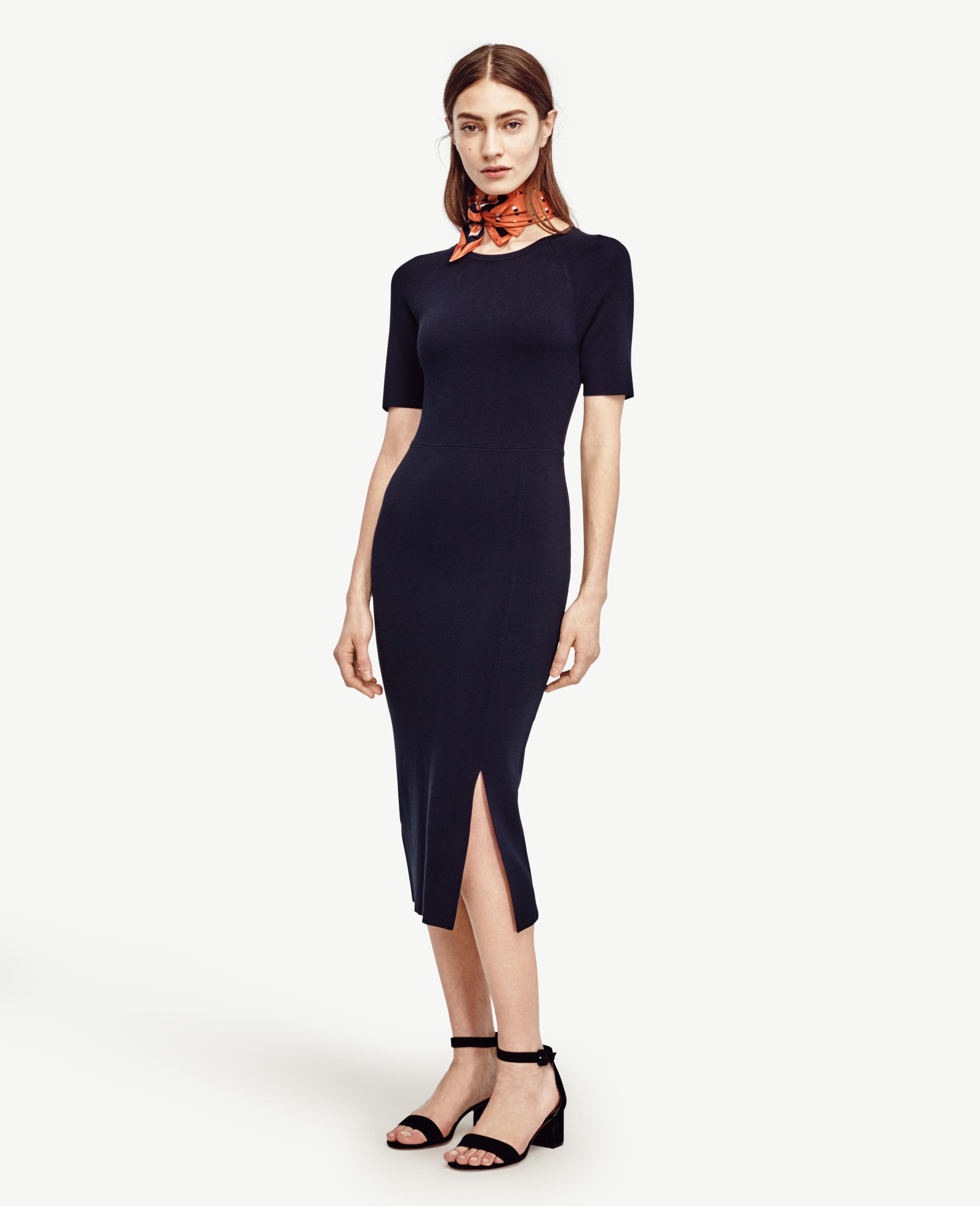 Ann taylor Petite Short Sleeve Sweater Dress in Black | Lyst