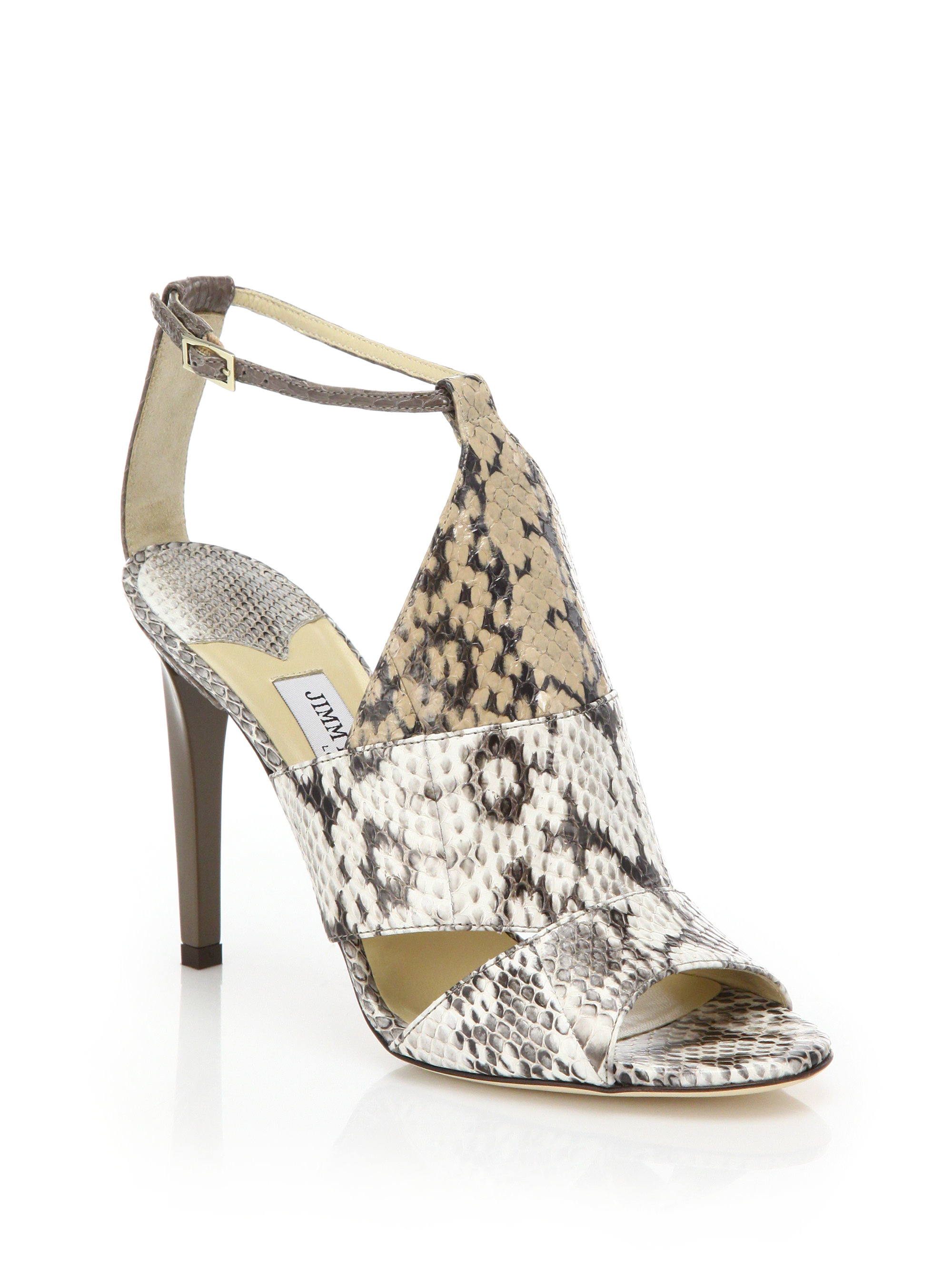 2ccc1b5039ee Lyst - Jimmy Choo Timbus Colorblock Snakeskin Sandals in Natural