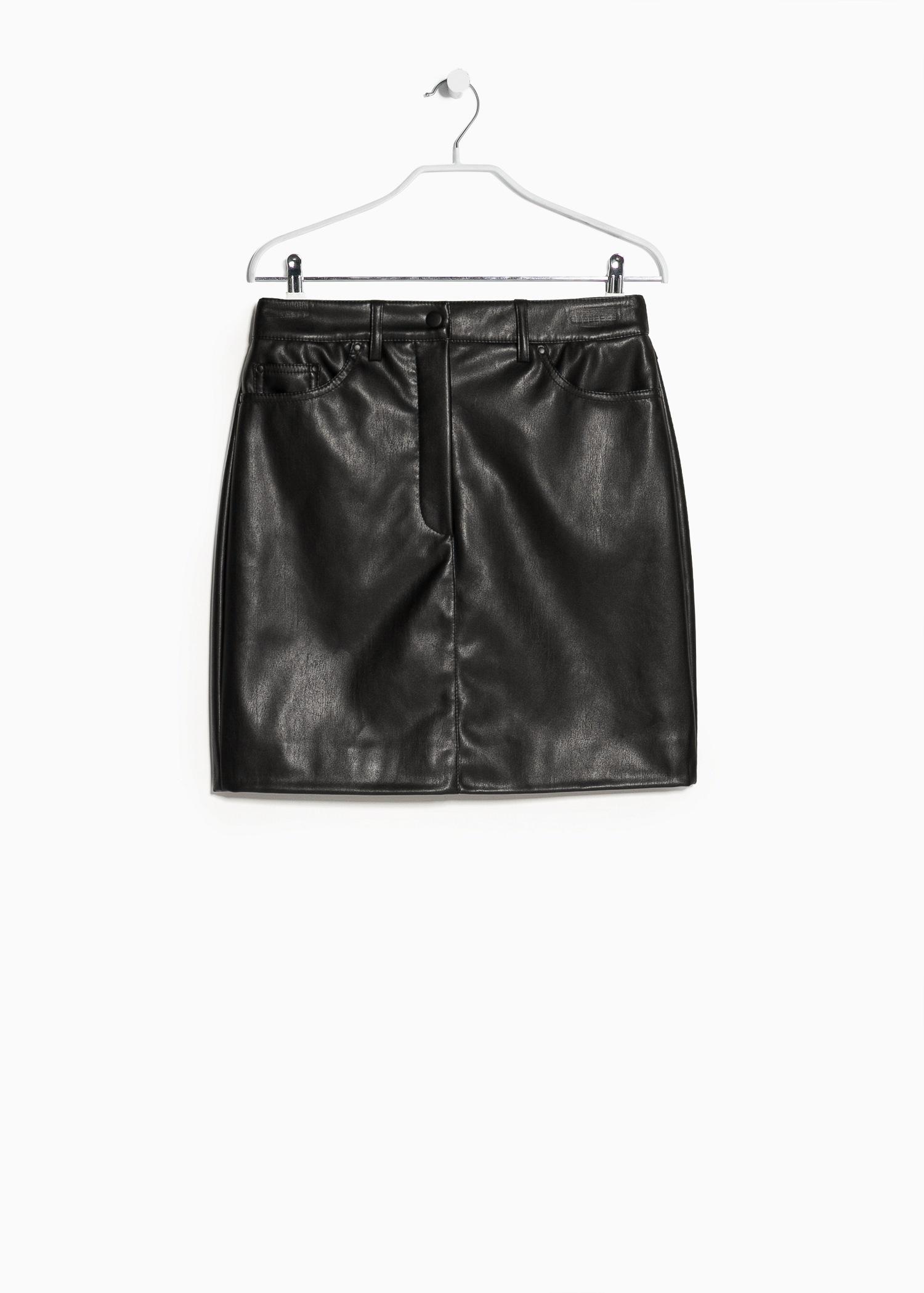 mango faux leather skirt in black lyst