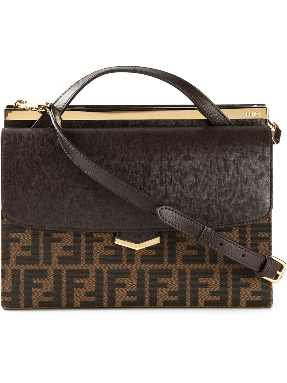 aaaad0fe25 Lyst - Fendi Tobacco Leather And Zucca Canvas  demi Jour  Large ...