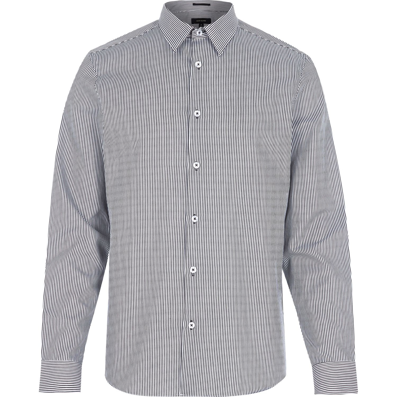 Lyst river island navy stripe long sleeve shirt in blue for Navy blue striped long sleeve shirt
