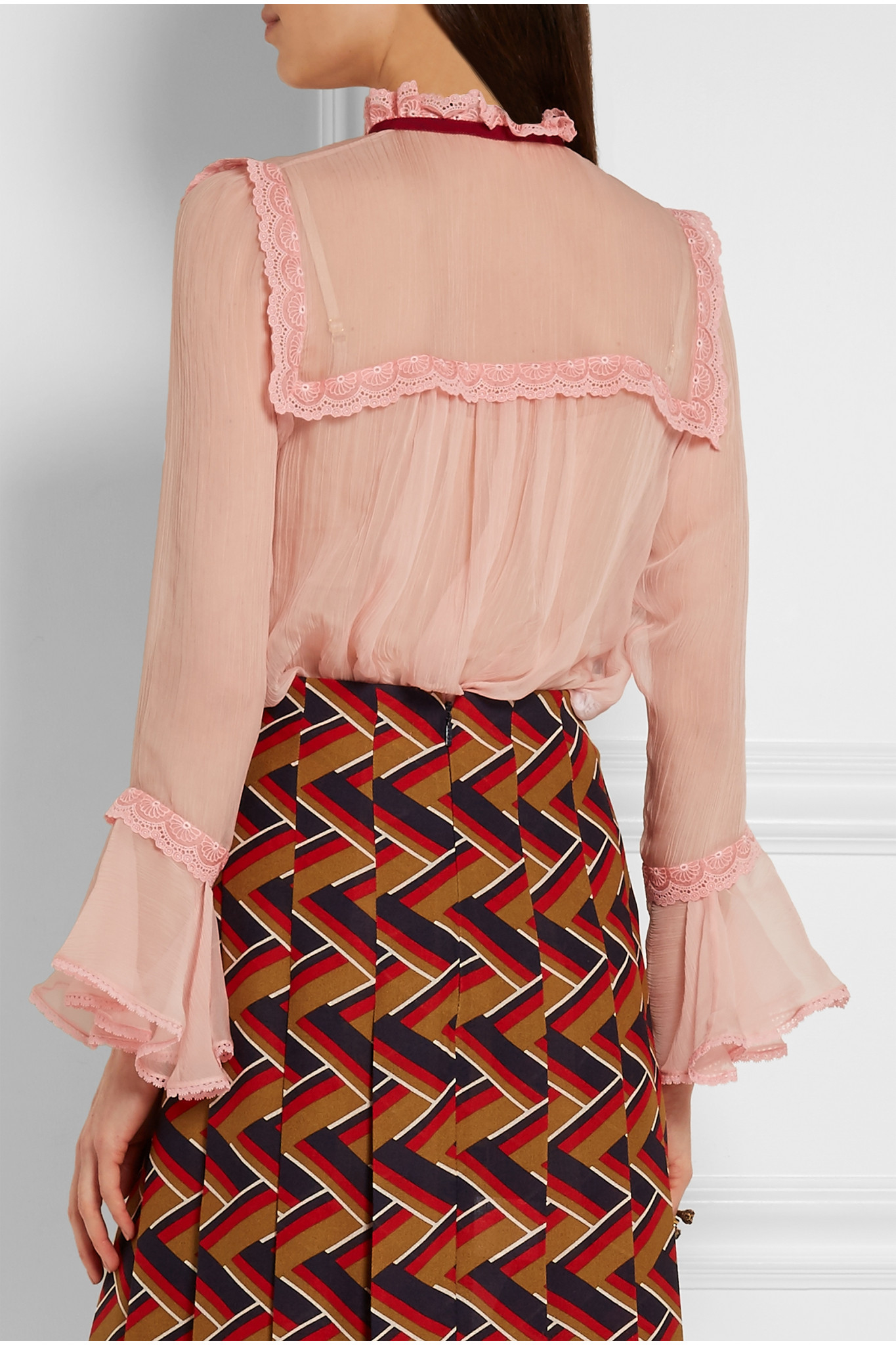Lyst Gucci Lace trimmed Crinkled Silk chiffon Blouse in Pink
