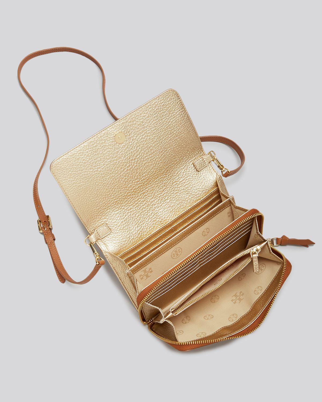e1696d358b4 Lyst - Tory Burch Mini Bag - Thea Flat Wallet On A Crossbody in Brown