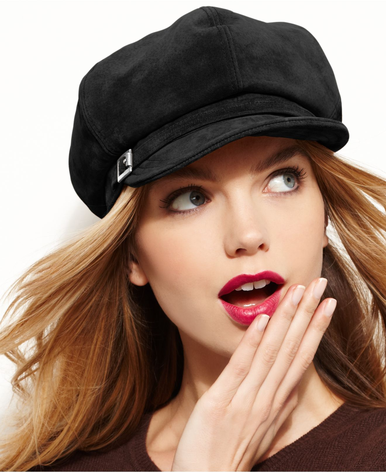 Lyst - Nine West Suede Newsboy Hat in Black 8737cc359579