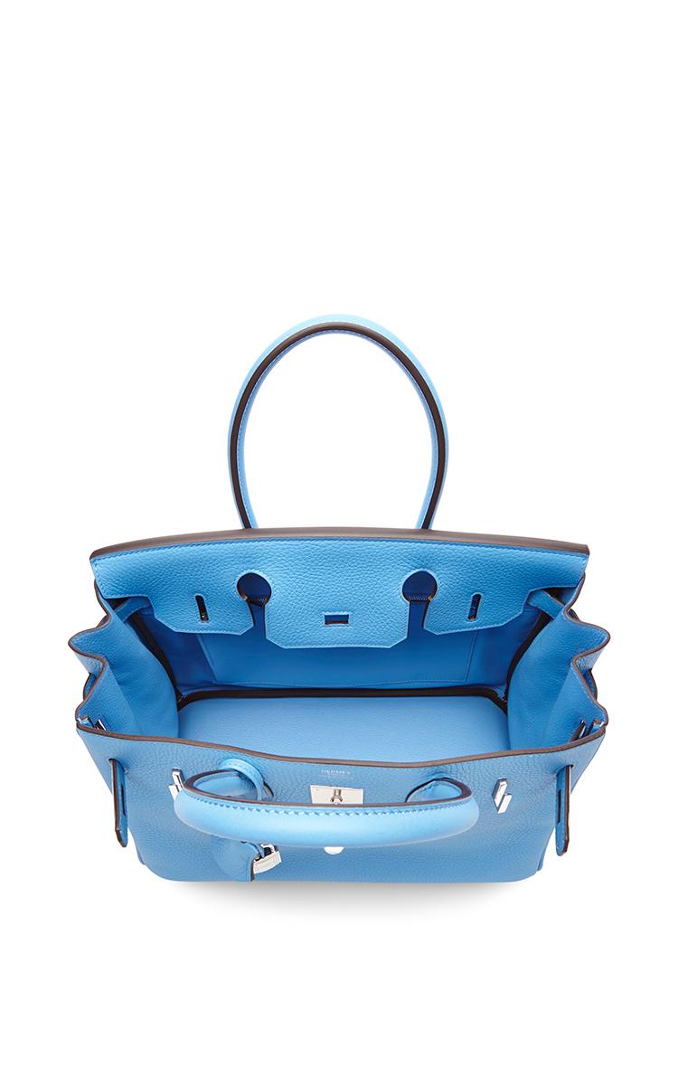 inexpensive leather handbags - Hermes Blue Jean 35cm Birkin Leather Palladium