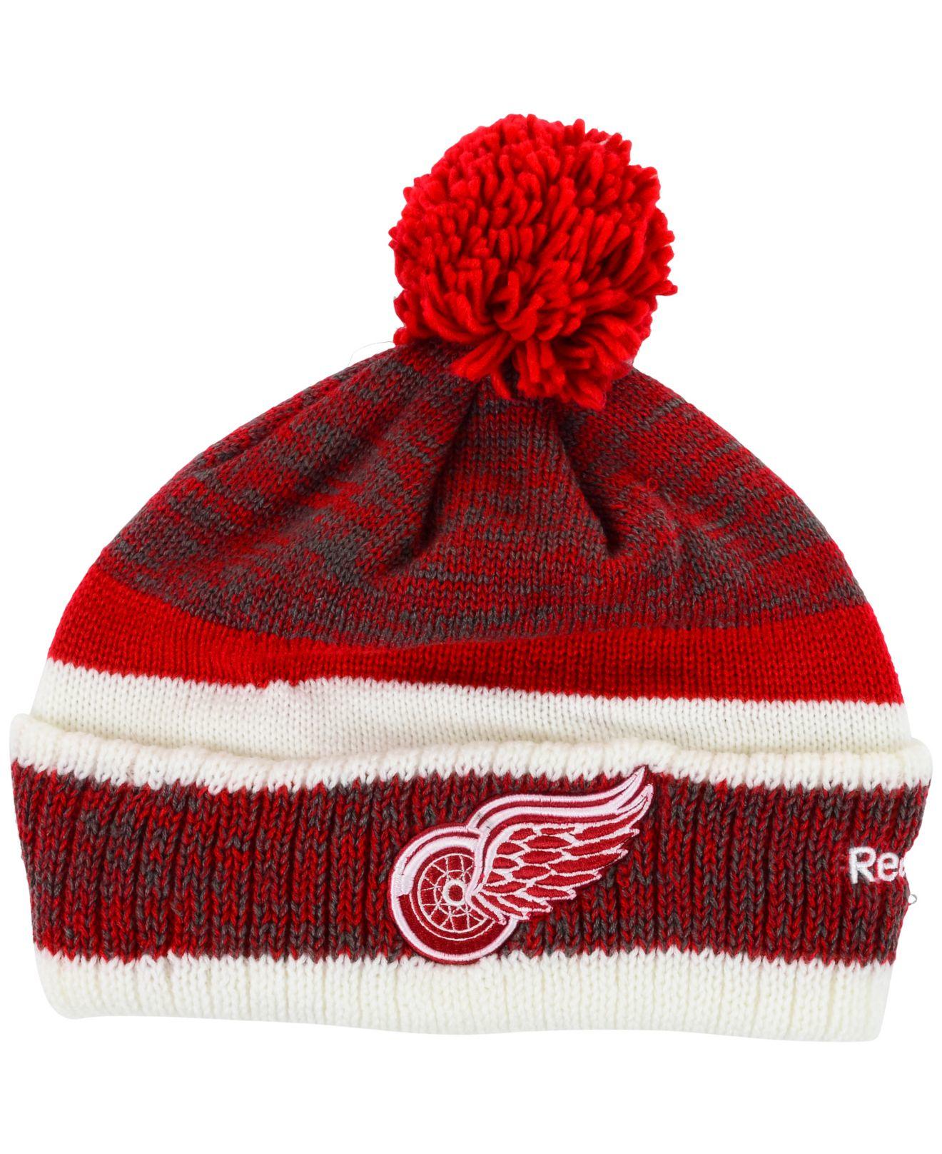 arrives a47d6 0bac7 Lyst - Reebok Detroit Red Wings Pom Knit Hat in Red for Men