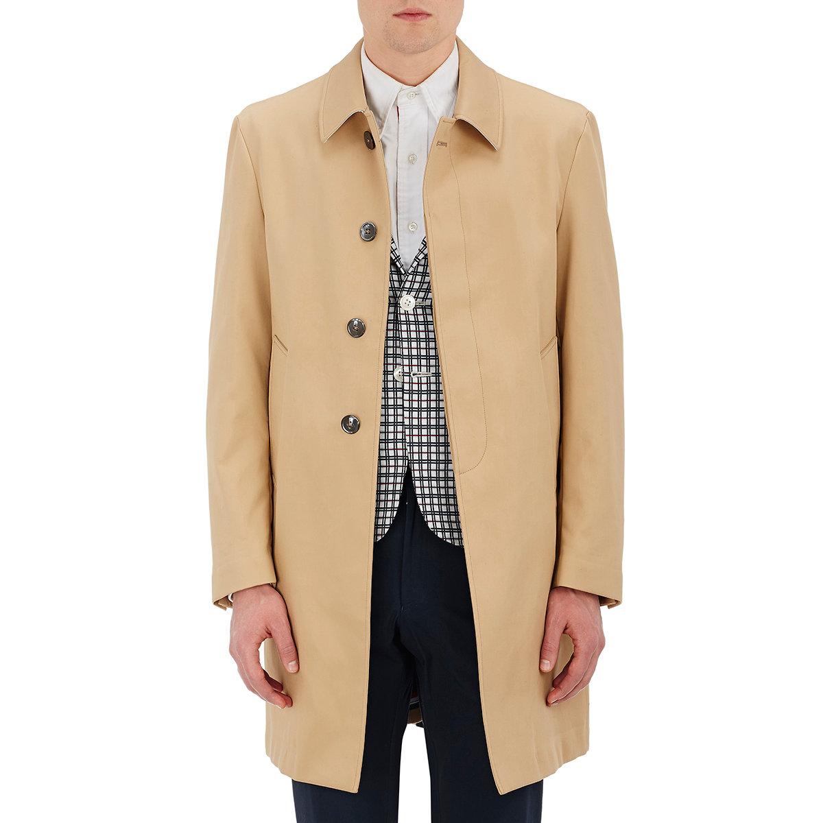 Thom Browne Men's Twill Mackintosh Coat in Natural for Men ...