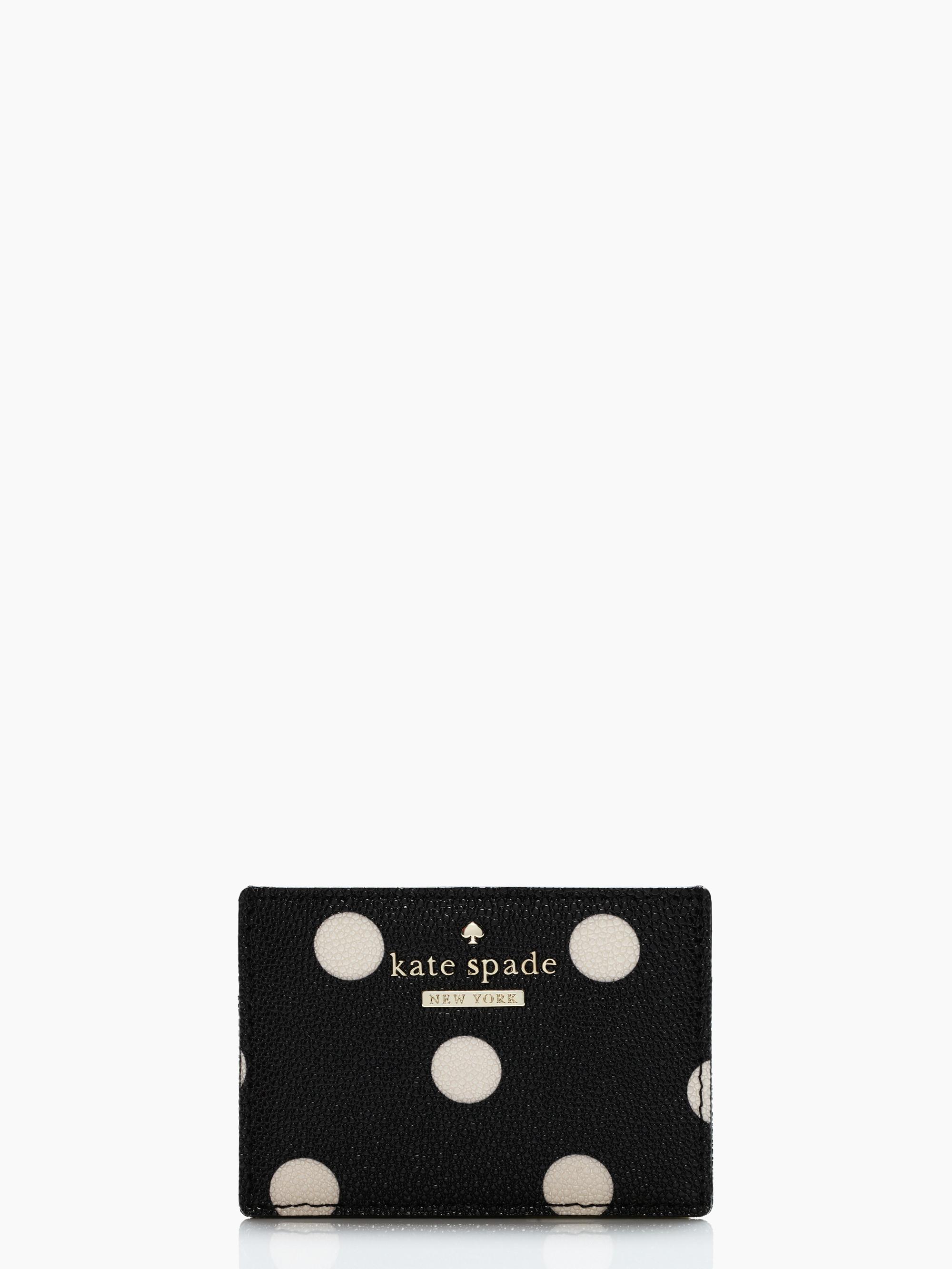 Lyst kate spade new york cedar street dot card holder in black gallery colourmoves