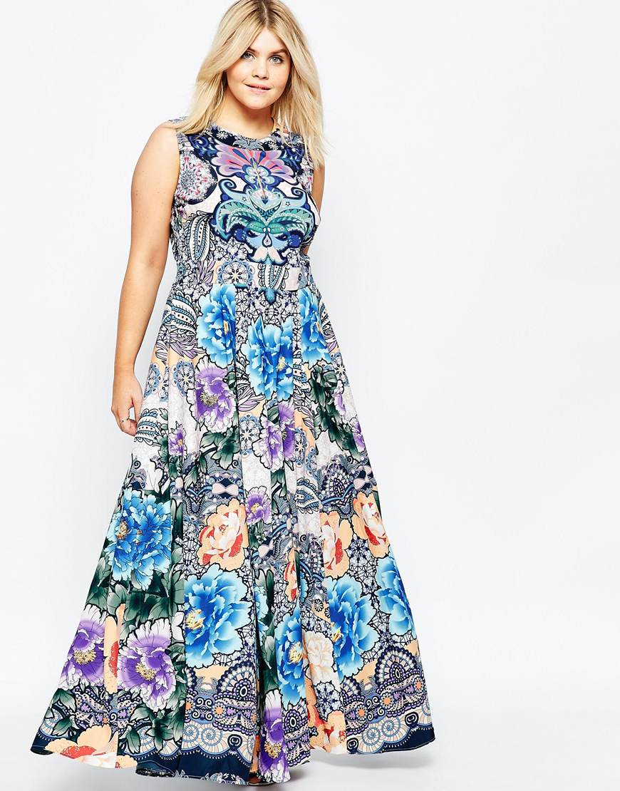 Asos Maxi Dress In Floral Paisley Print in Blue | Lyst