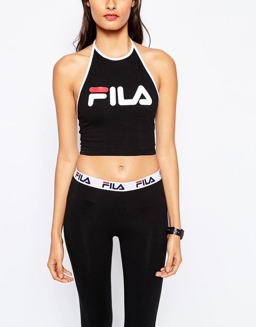 Top Women S Fashion Magazines: Fila Cropped Tie Back Halter Neck Vest Top With