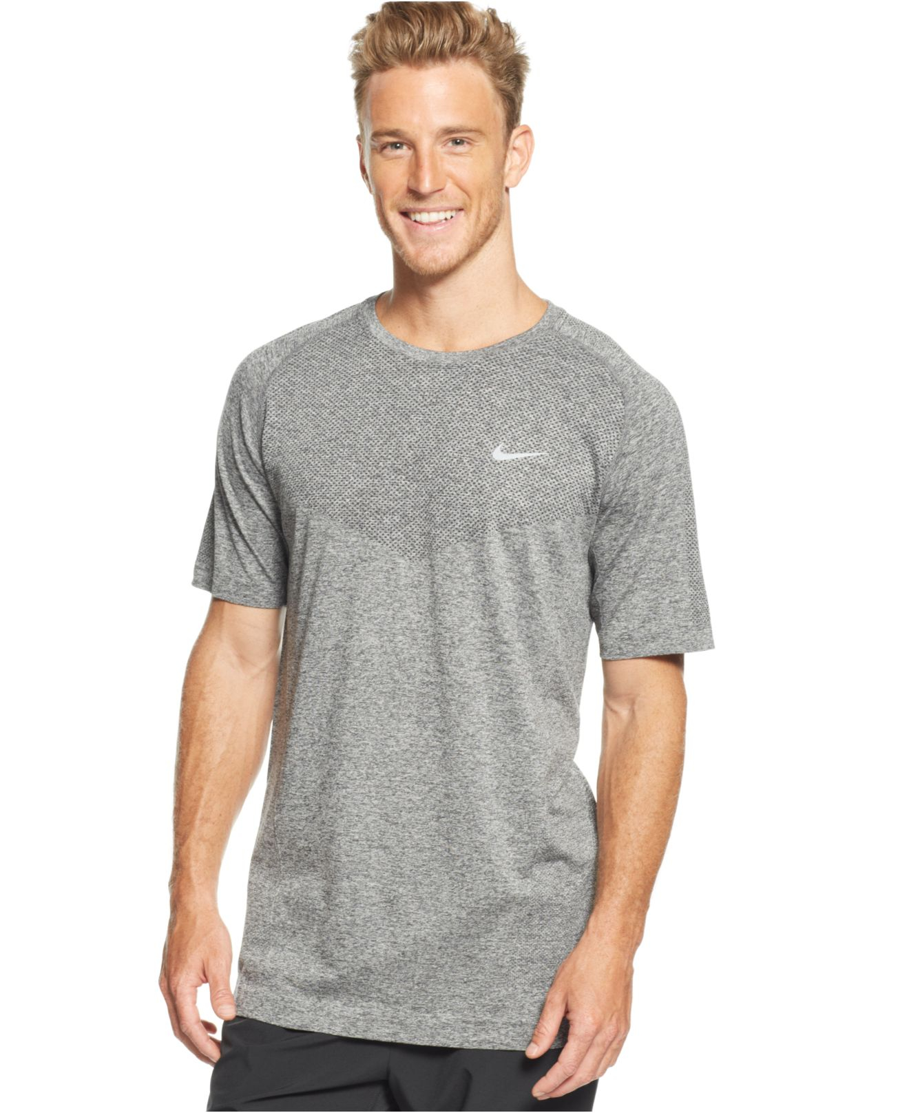 Lyst nike dri fit crew neck performance t shirt in gray for Custom dri fit t shirts