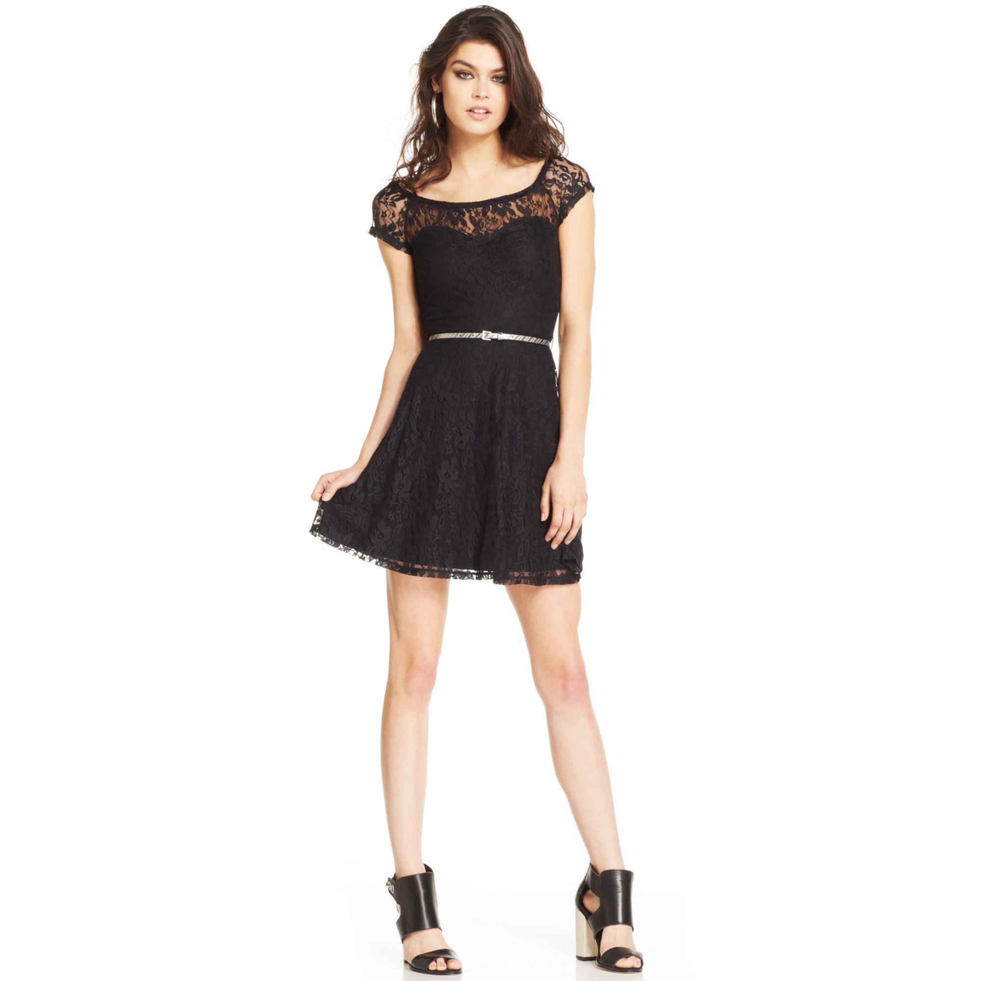 Material Girl Juniors Lace Illusion Dress in Black (Caviar ...