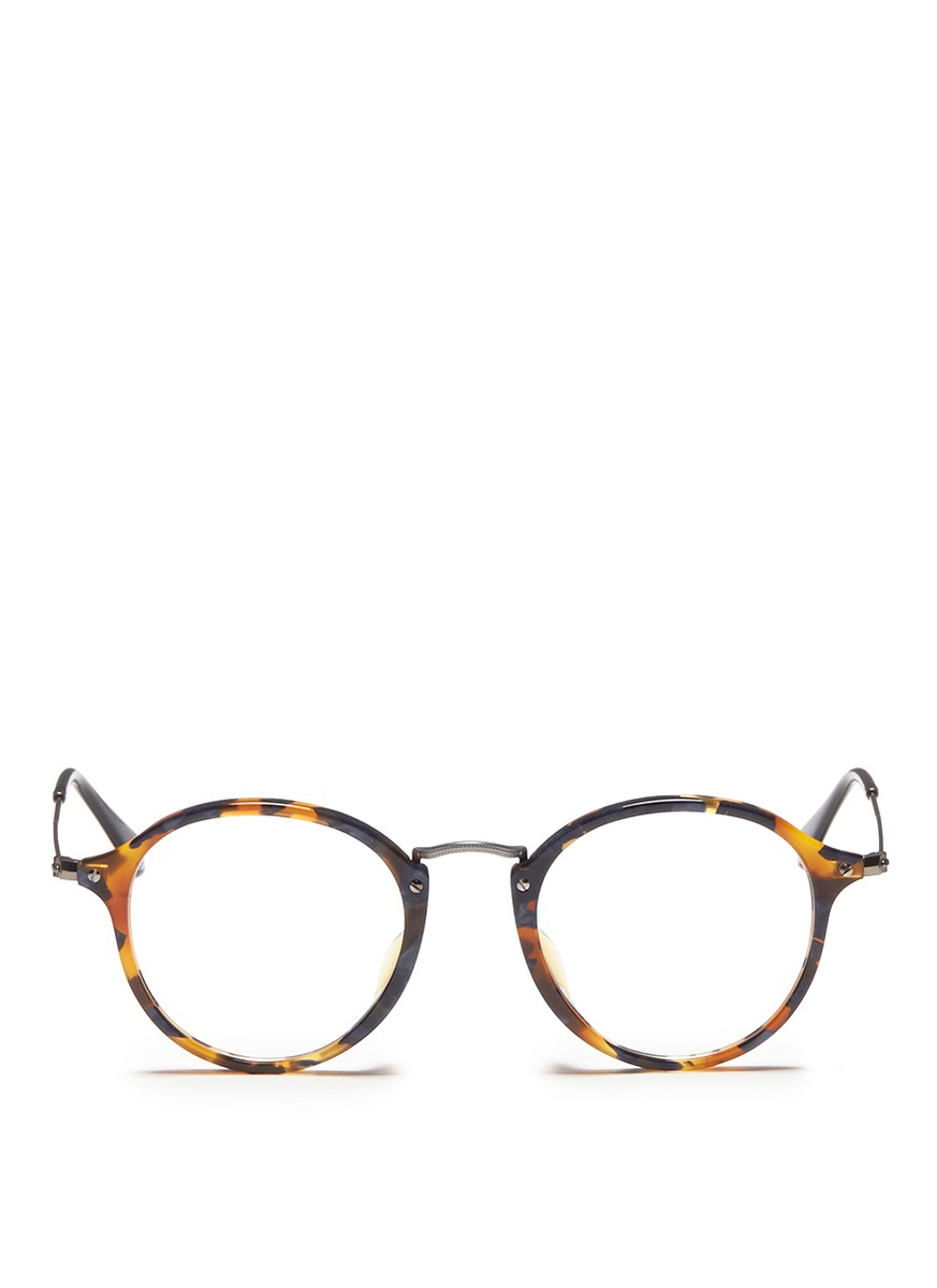 Lyst - Ray-Ban Acetate Round Frame Wire Temple Optical Glasses in Brown