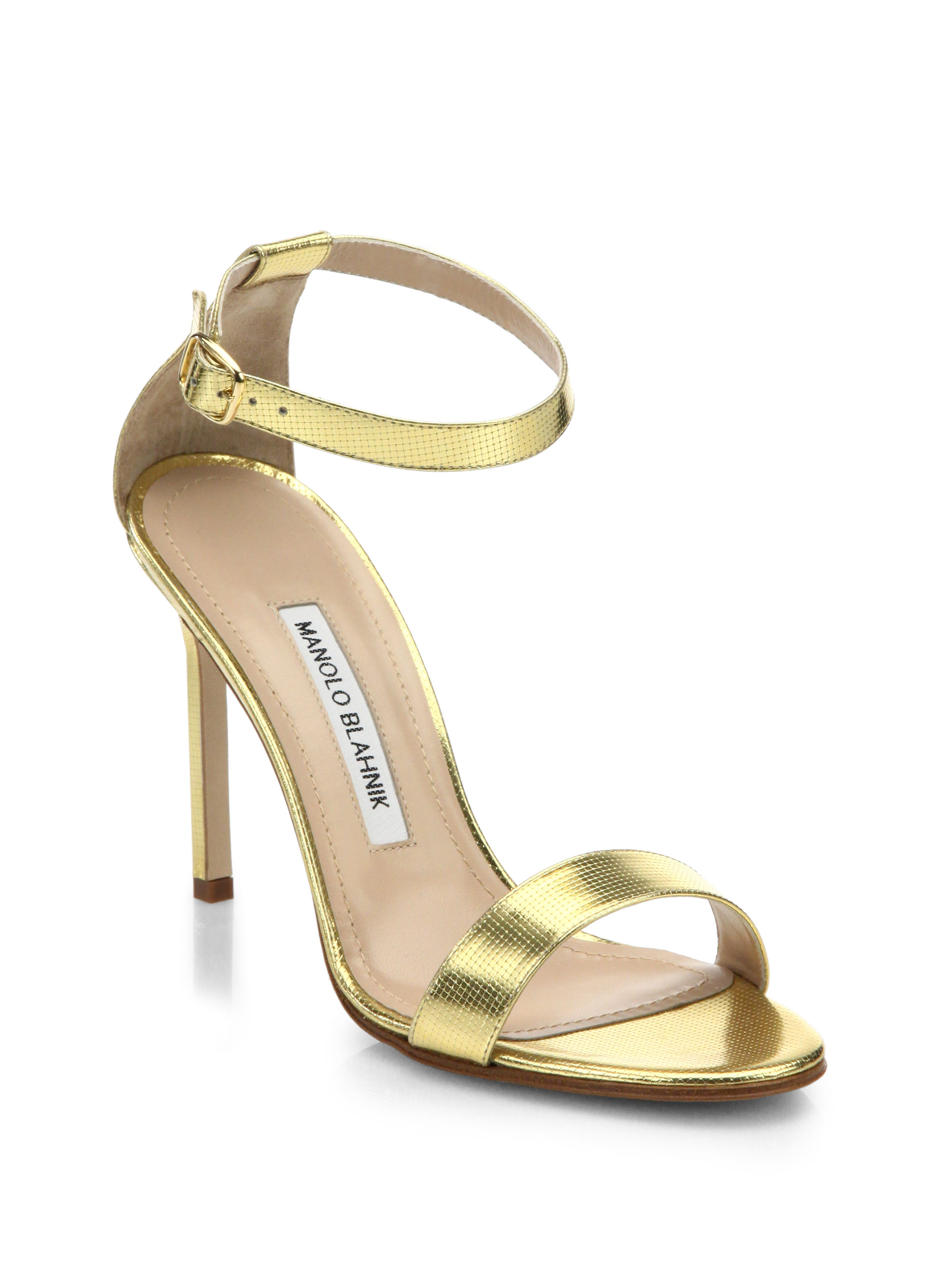 Lyst manolo blahnik chaos metallic leather ankle strap for Who is manolo blahnik