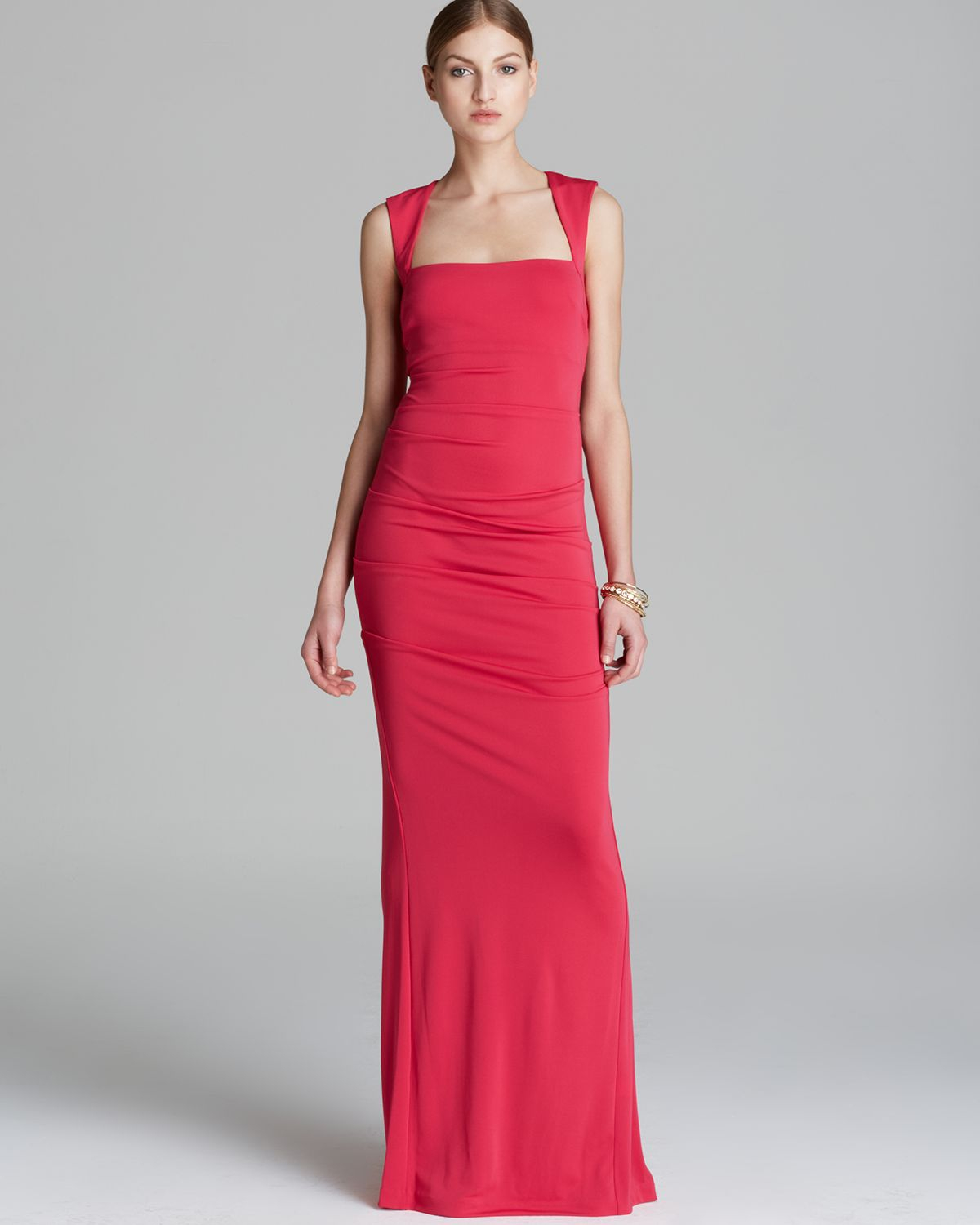 Lyst - Nicole Miller Gown Cap Sleeve Open Back in Red