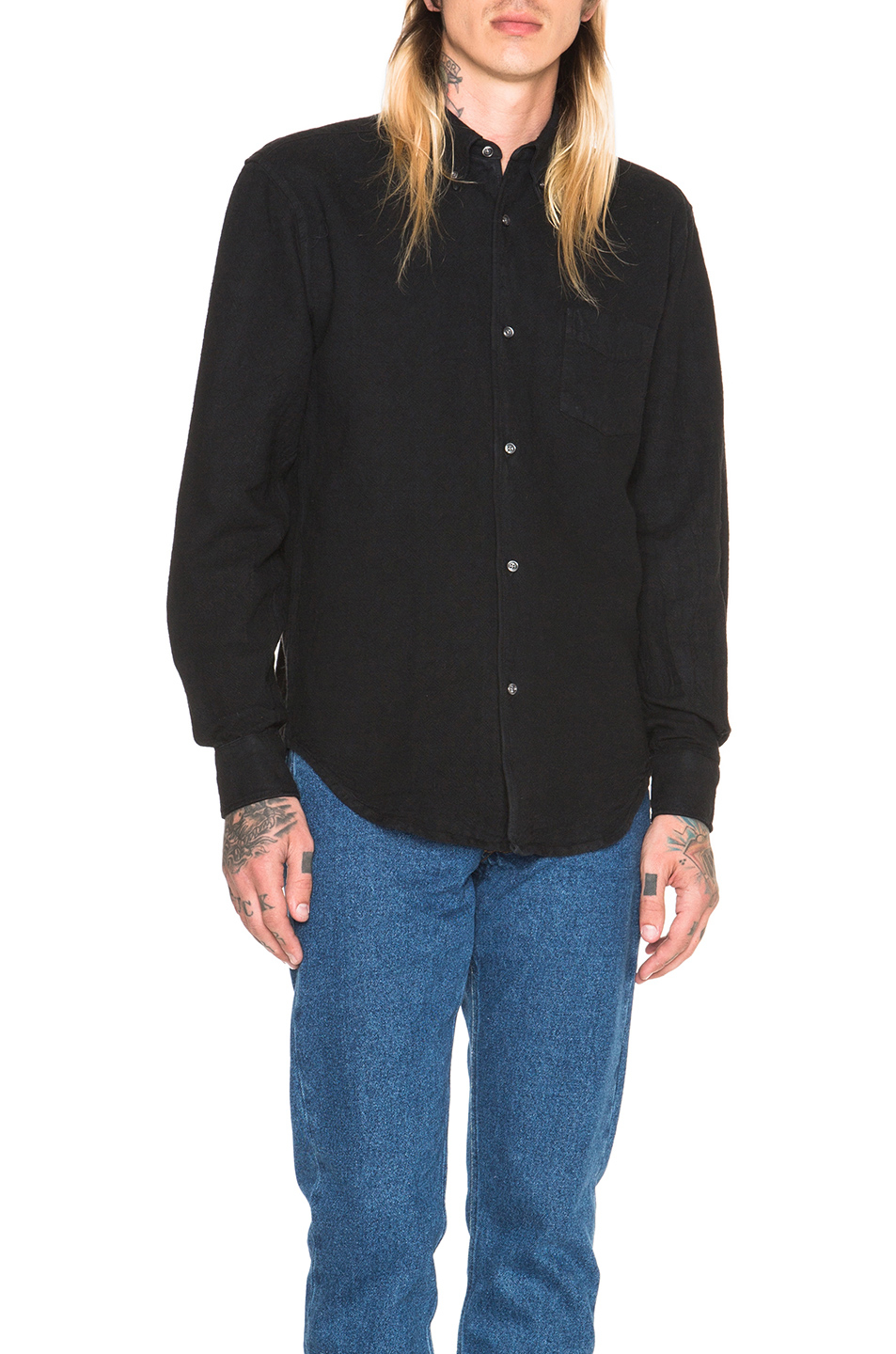Lyst our legacy heavy oxford button down in black for Heavy button down shirts