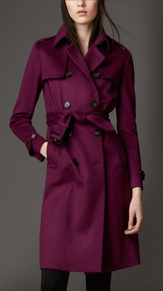 Burberry Long Double Cashmere Trench Coat in Purple (dark magenta)
